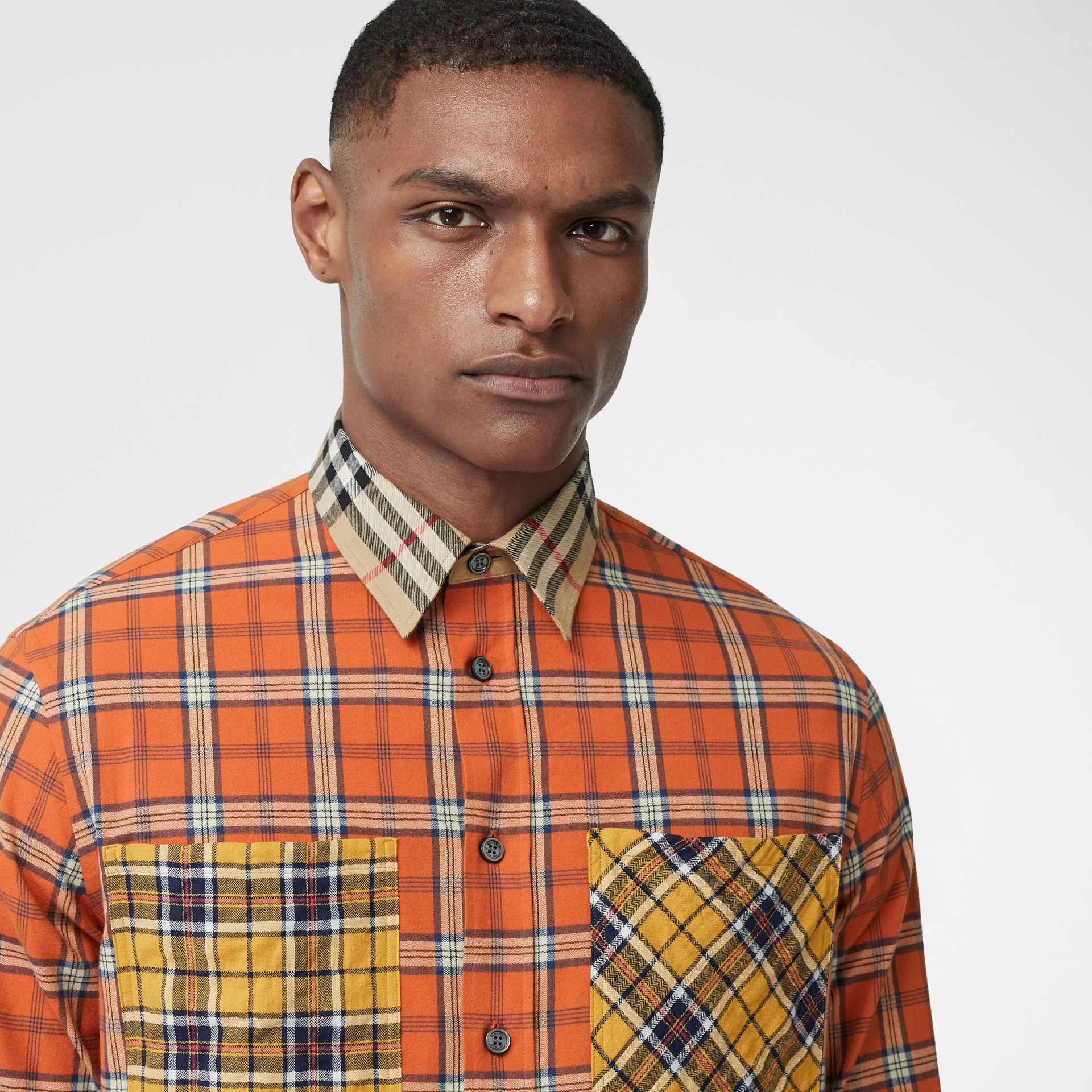 Contrast Check Cotton Flannel Oversized Shirt in Orange - Men | Burberry - gallery image 1