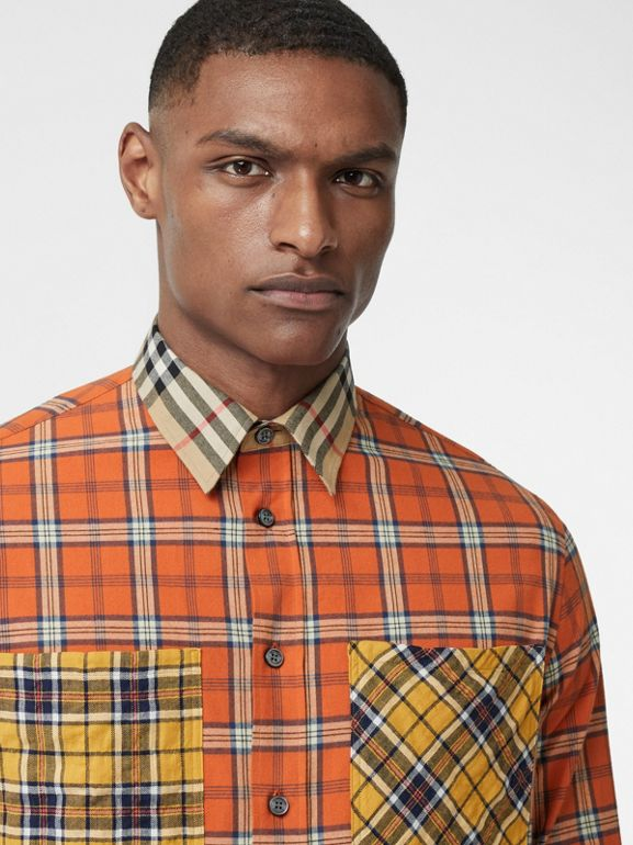 Contrast Check Cotton Flannel Oversized Shirt in Orange - Men | Burberry - cell image 1