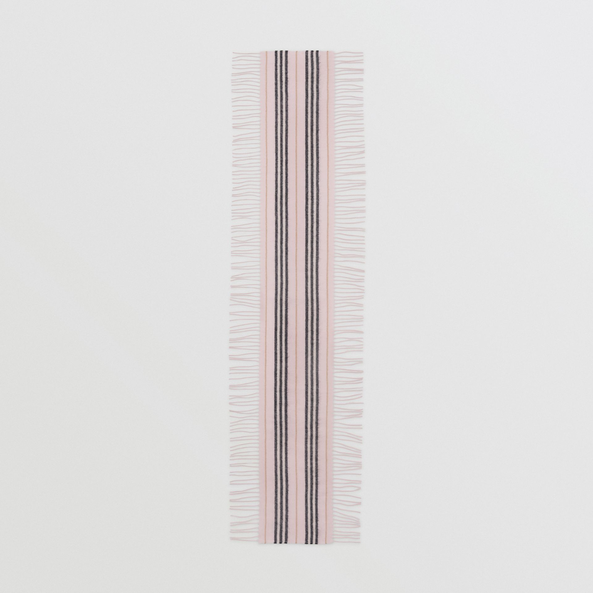 Fringed Icon Stripe Cashmere Scarf in Alabaster - Children | Burberry United States - gallery image 2