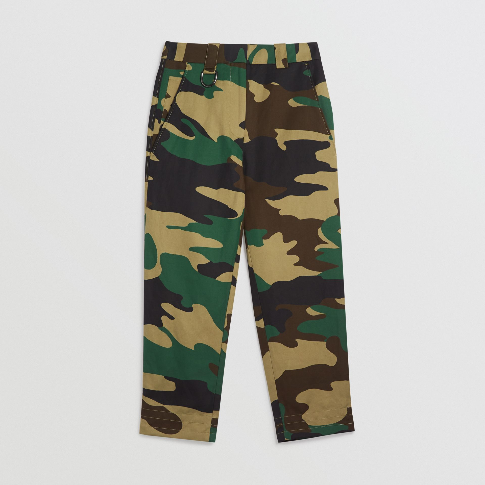 Camouflage Print Ramie Cotton Cargo Trousers in Forest Green - Women | Burberry - gallery image 3