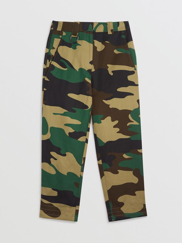 Camouflage Print Ramie Cotton Cargo Trousers in Forest Green - Women | Burberry Singapore - cell image 3