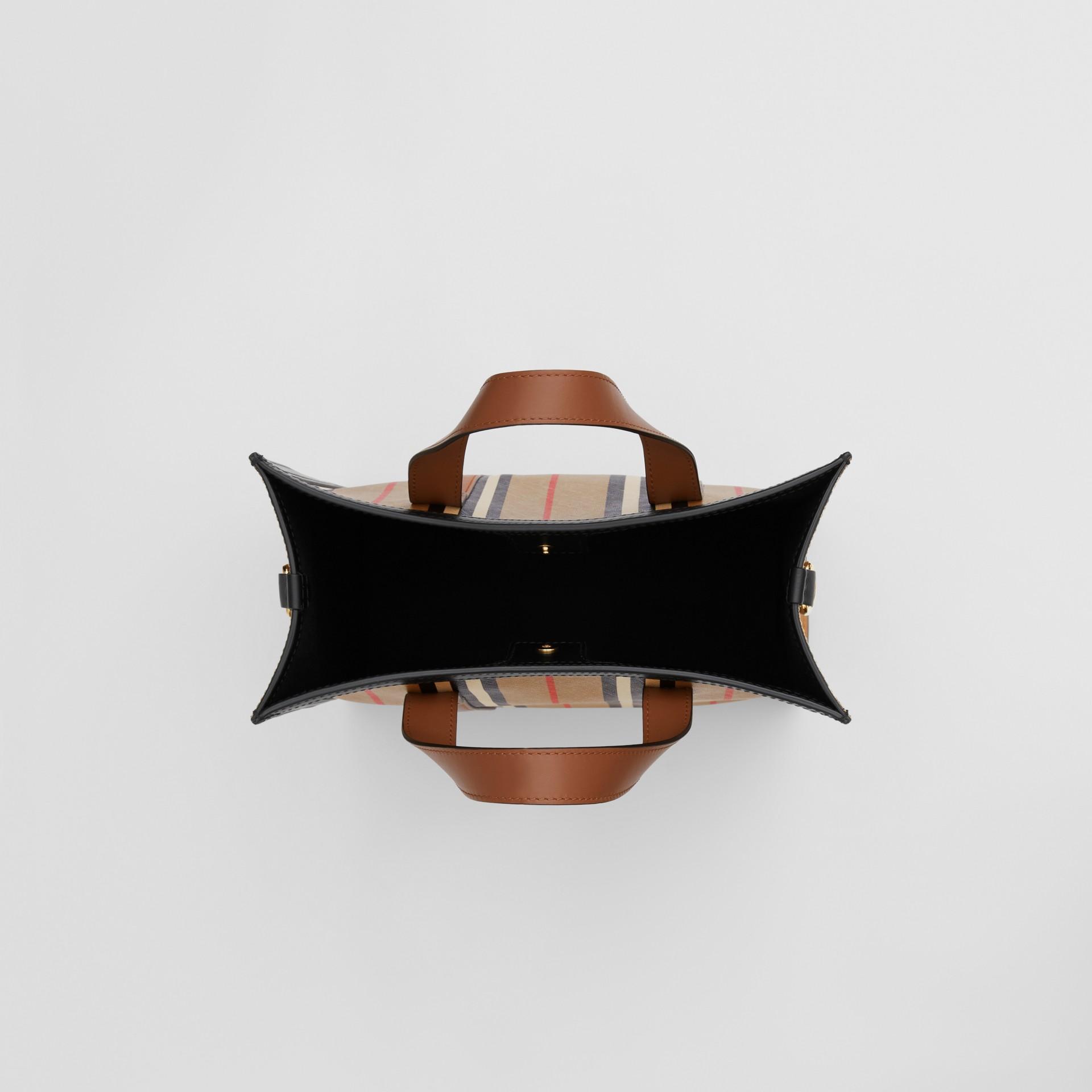 Small Icon Stripe E-canvas Portrait Tote Bag in Archive Beige - Women | Burberry United Kingdom - gallery image 3