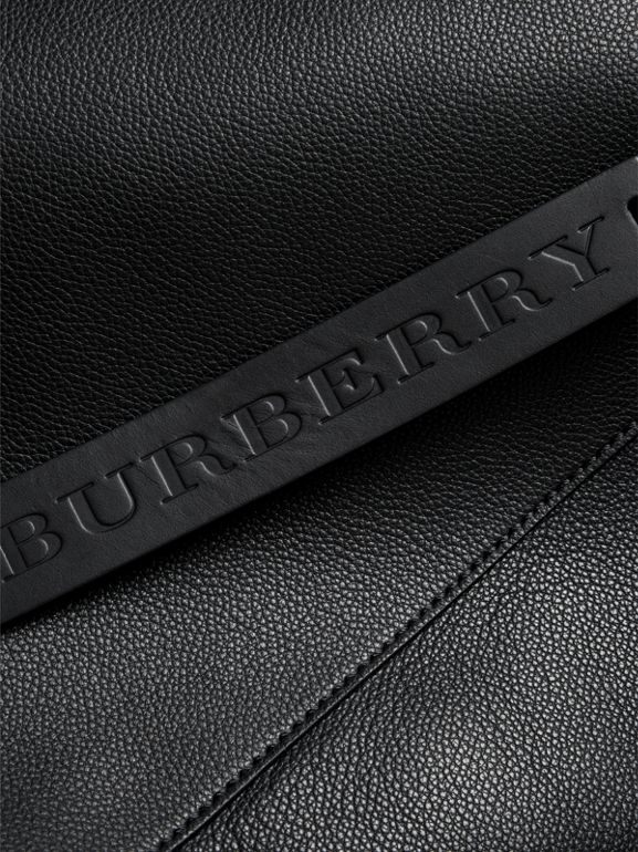 Large Bonded Leather Tote in Black - Men | Burberry United Kingdom - cell image 1