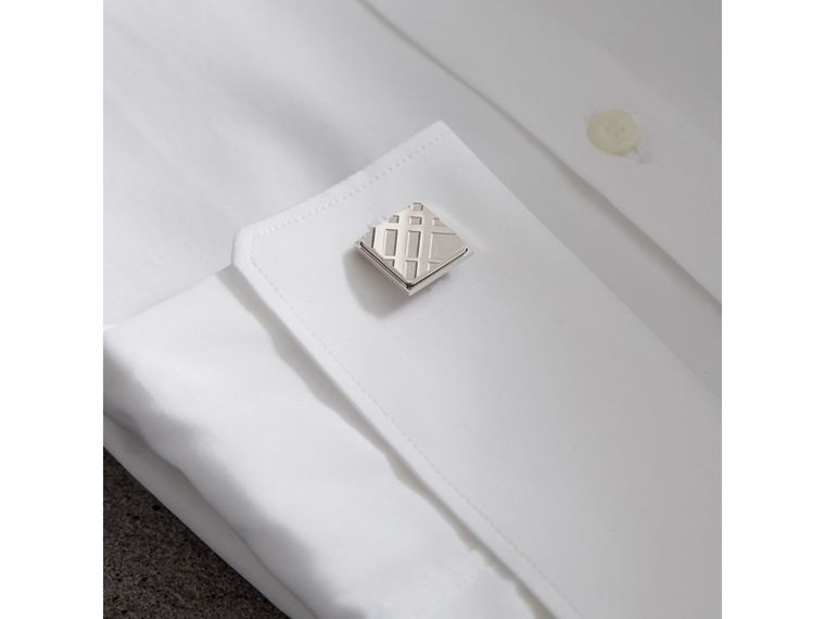Check-engraved Square Cufflinks in Silver - Men | Burberry Australia - cell image 2