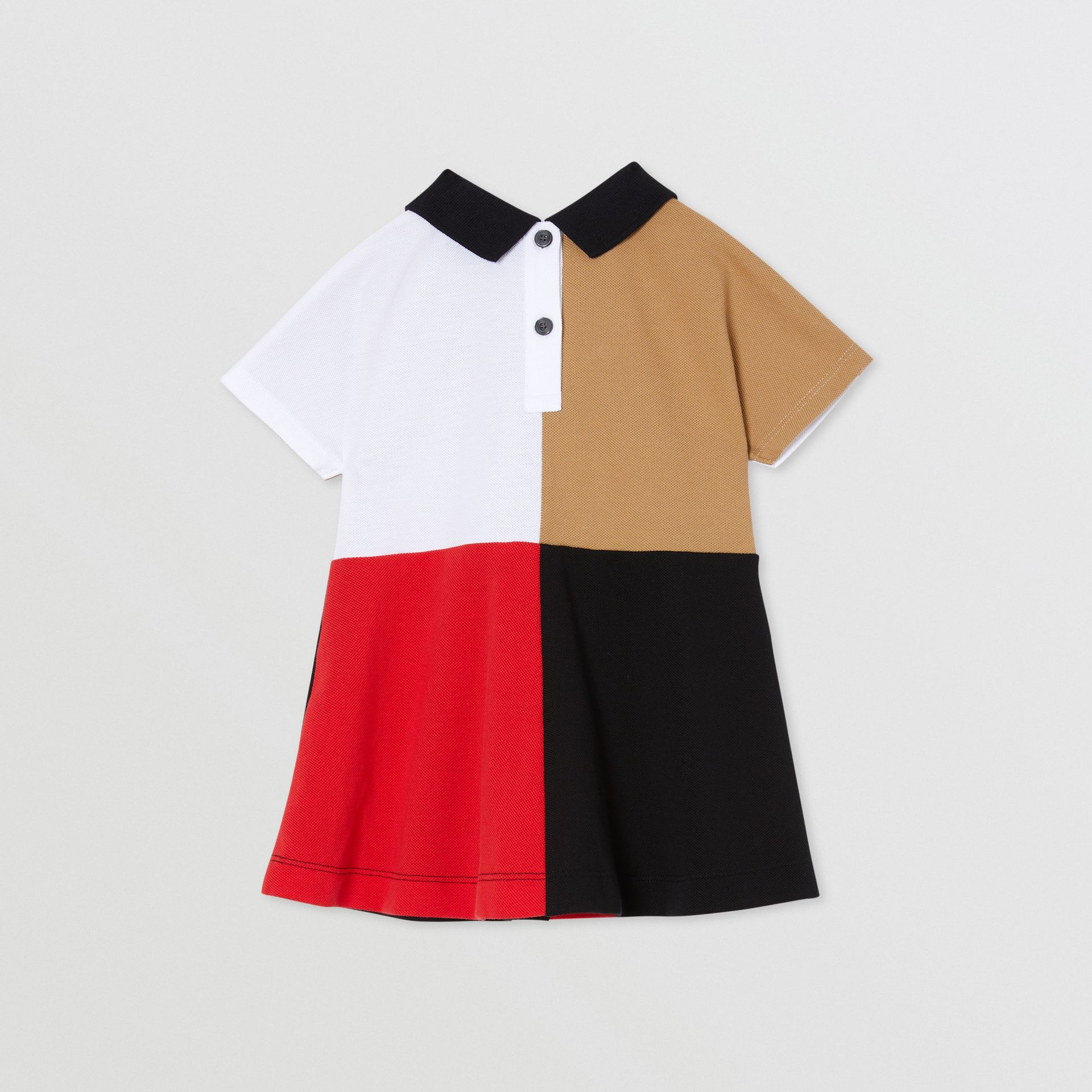Colour Block Knit Cotton Polo Shirt Dress in Multicolour - Children | Burberry - gallery image 3