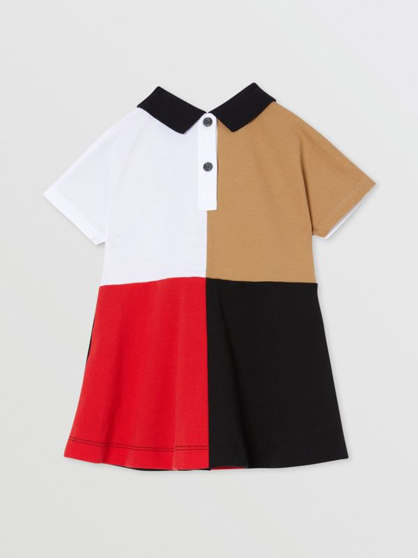 Colour Block Knit Cotton Polo Shirt Dress in Multicolour - Children | Burberry - cell image 3