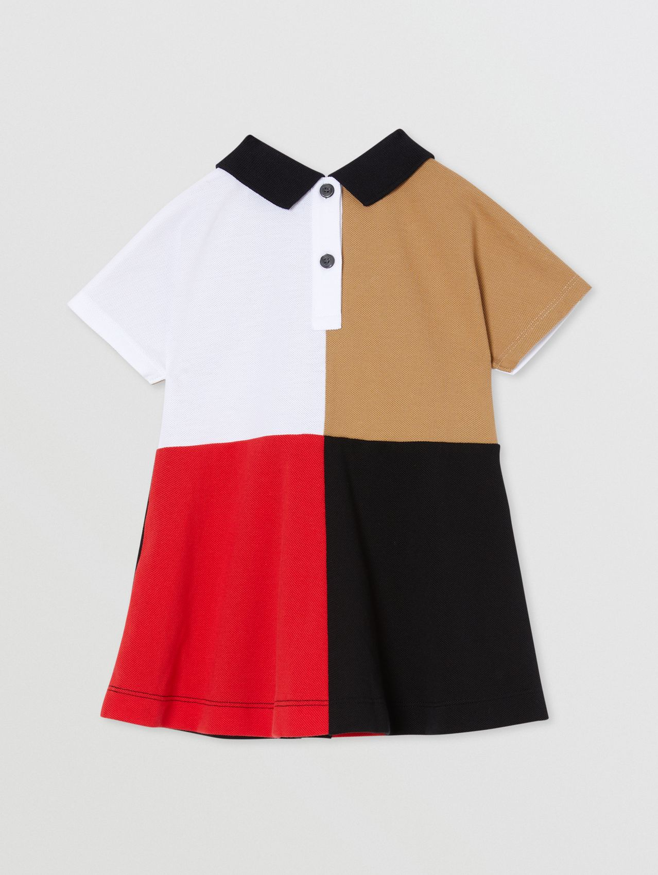 Colour Block Knit Cotton Polo Shirt Dress in Multicolour