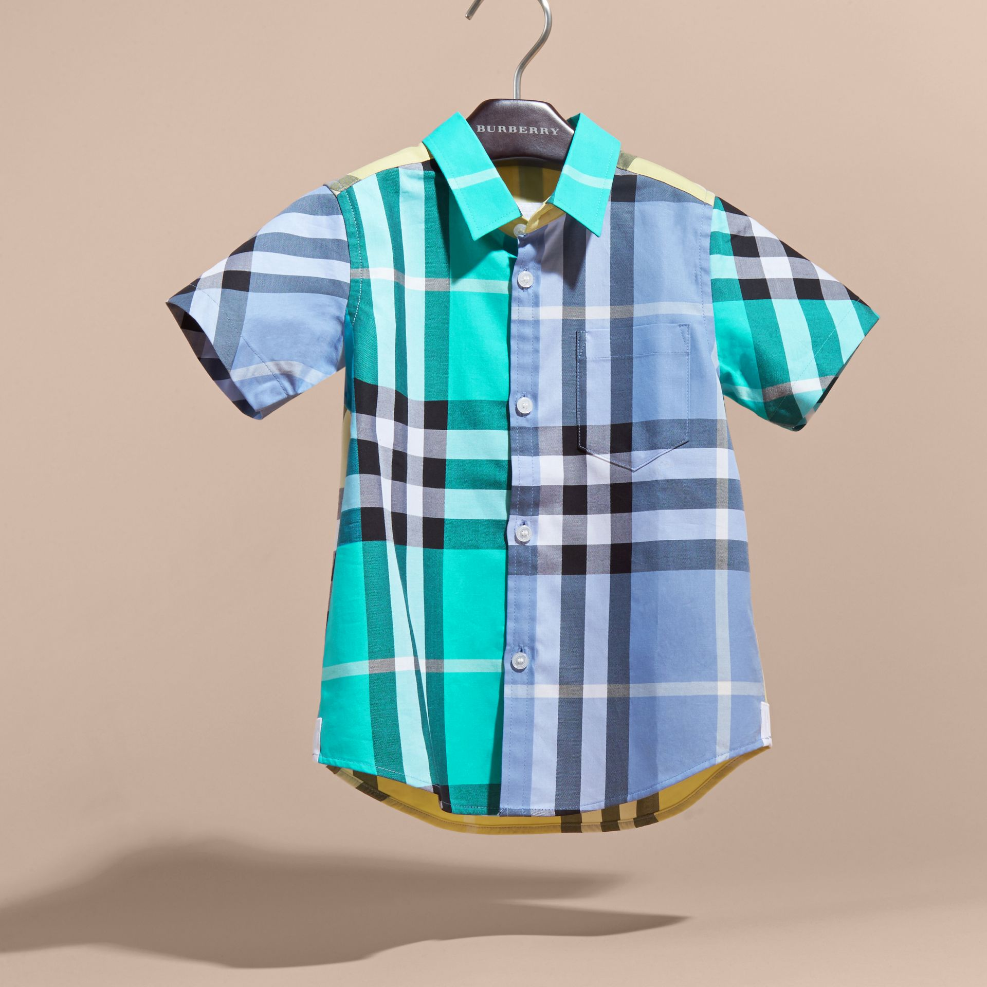 Short-sleeved Contrast Check Cotton Shirt Cyan Green - gallery image 3
