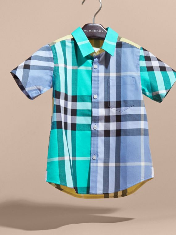 Short-sleeved Contrast Check Cotton Shirt in Cyan Green | Burberry - cell image 2