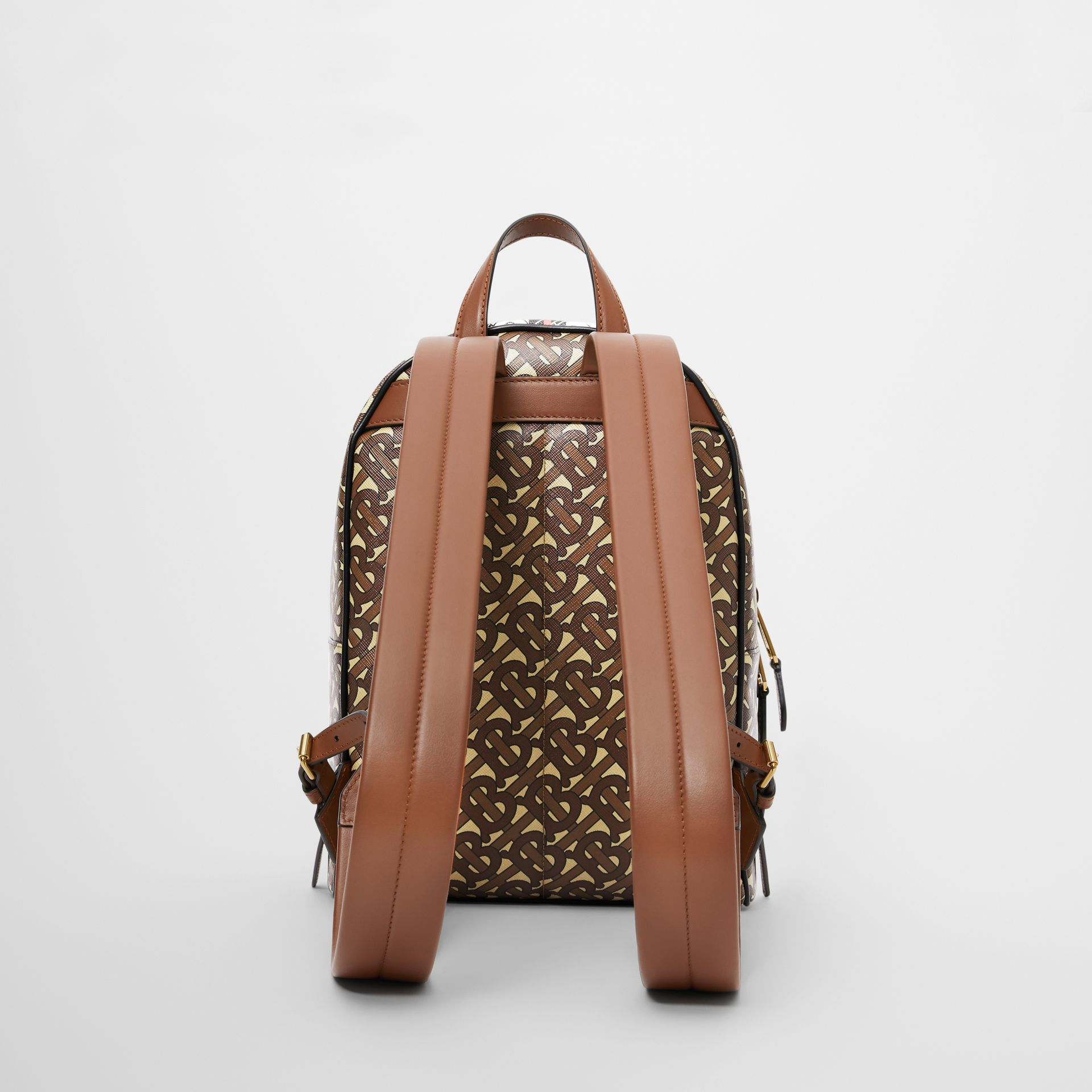 Monogram Stripe Print E-canvas Backpack in Bridle Brown - Women | Burberry United Kingdom - gallery image 5