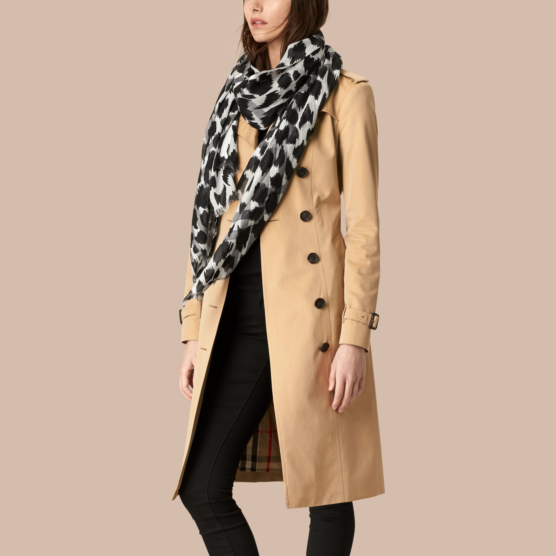 Natural white/black Animal Print and Check Wool Silk Scarf Natural White/black - gallery image 2