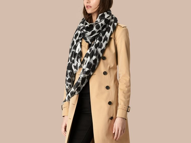 Natural white/black Animal Print and Check Wool Silk Scarf Natural White/black - cell image 1