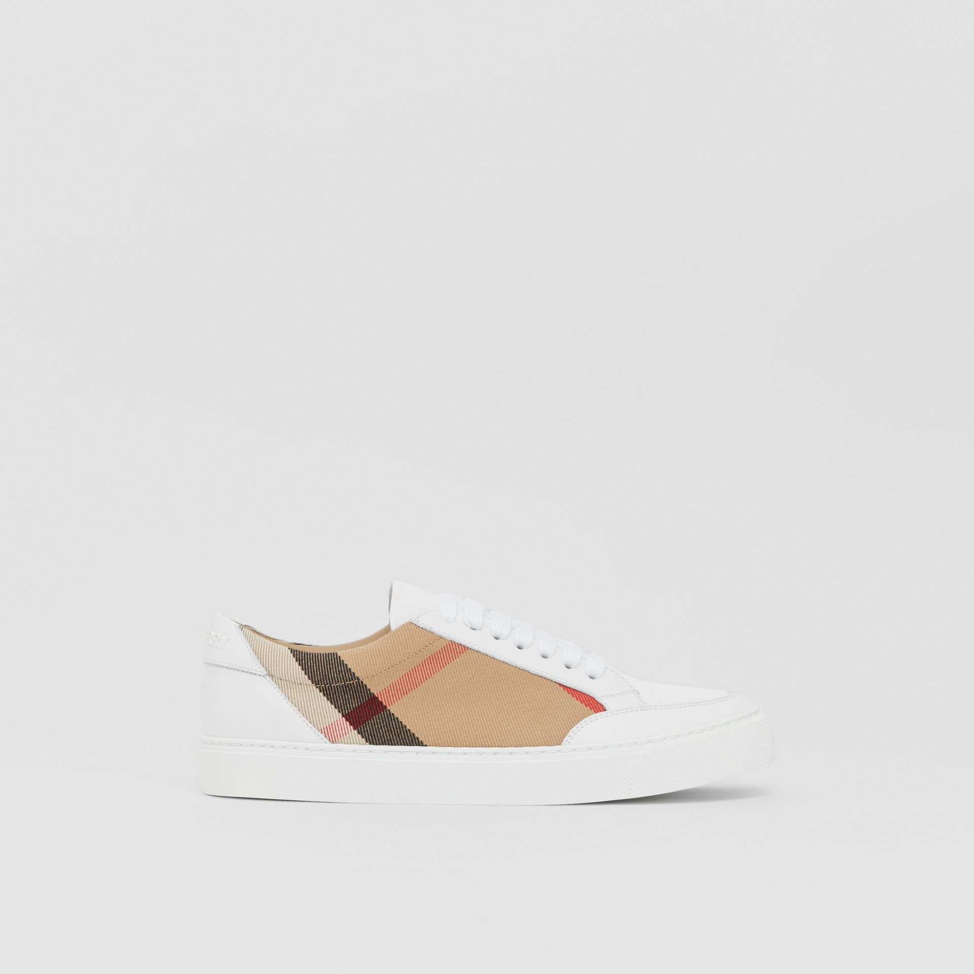House Check and Leather Sneakers in Optic White - Women | Burberry United Kingdom - gallery image 4