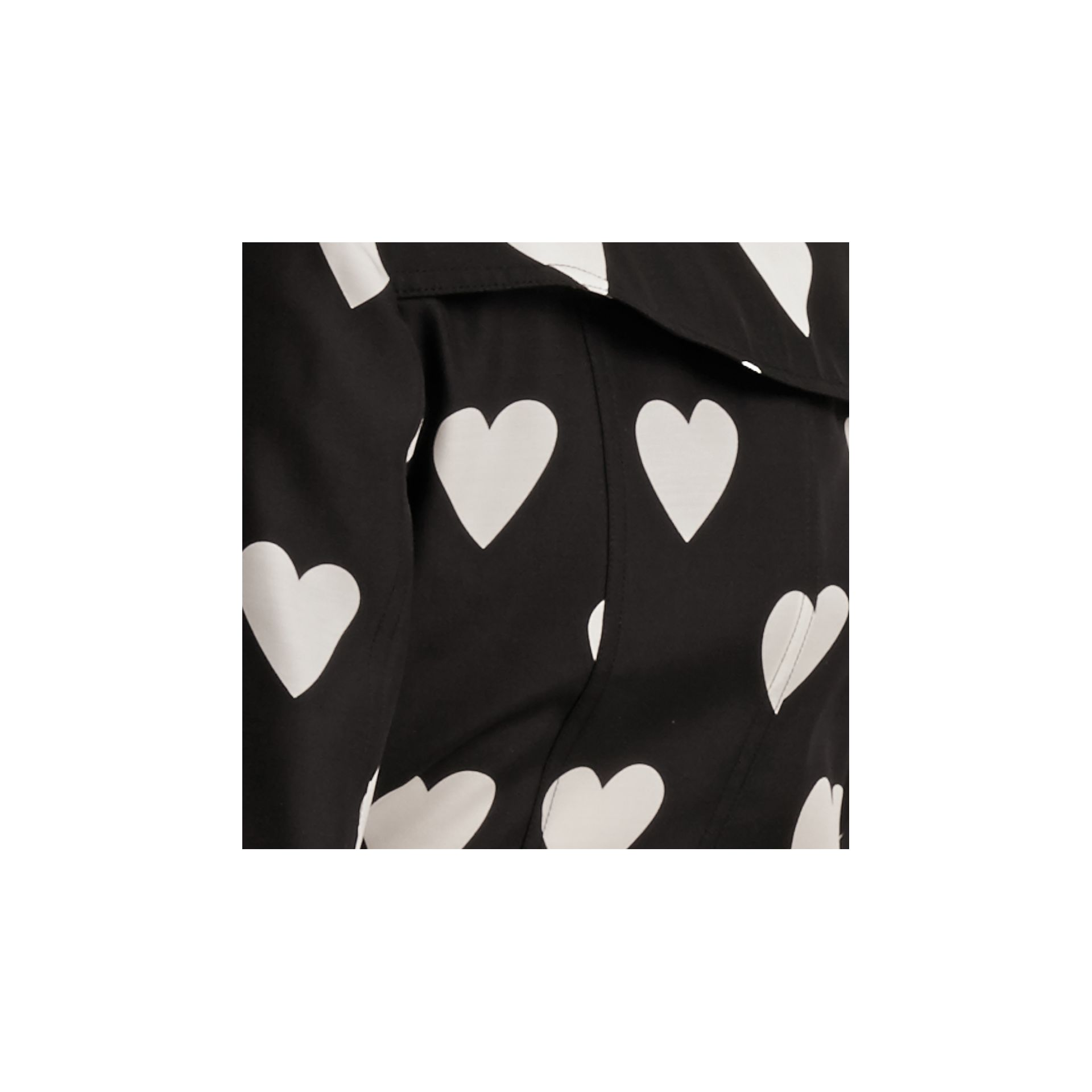 Black / white Lightweight Heart Print Silk Wool Trench Coat - gallery image 2
