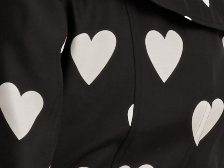 Black / white Lightweight Heart Print Silk Wool Trench Coat - cell image 1