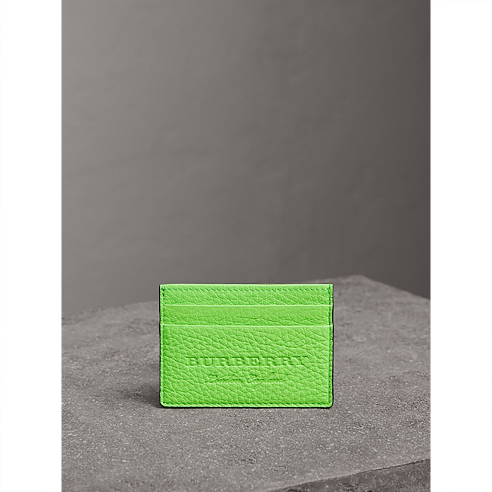 Embossed Textured Leather Card Case in Neon Green | Burberry - gallery image 3