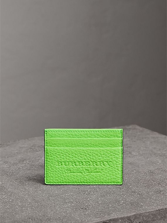 Embossed Textured Leather Card Case in Neon Green | Burberry United States - cell image 3