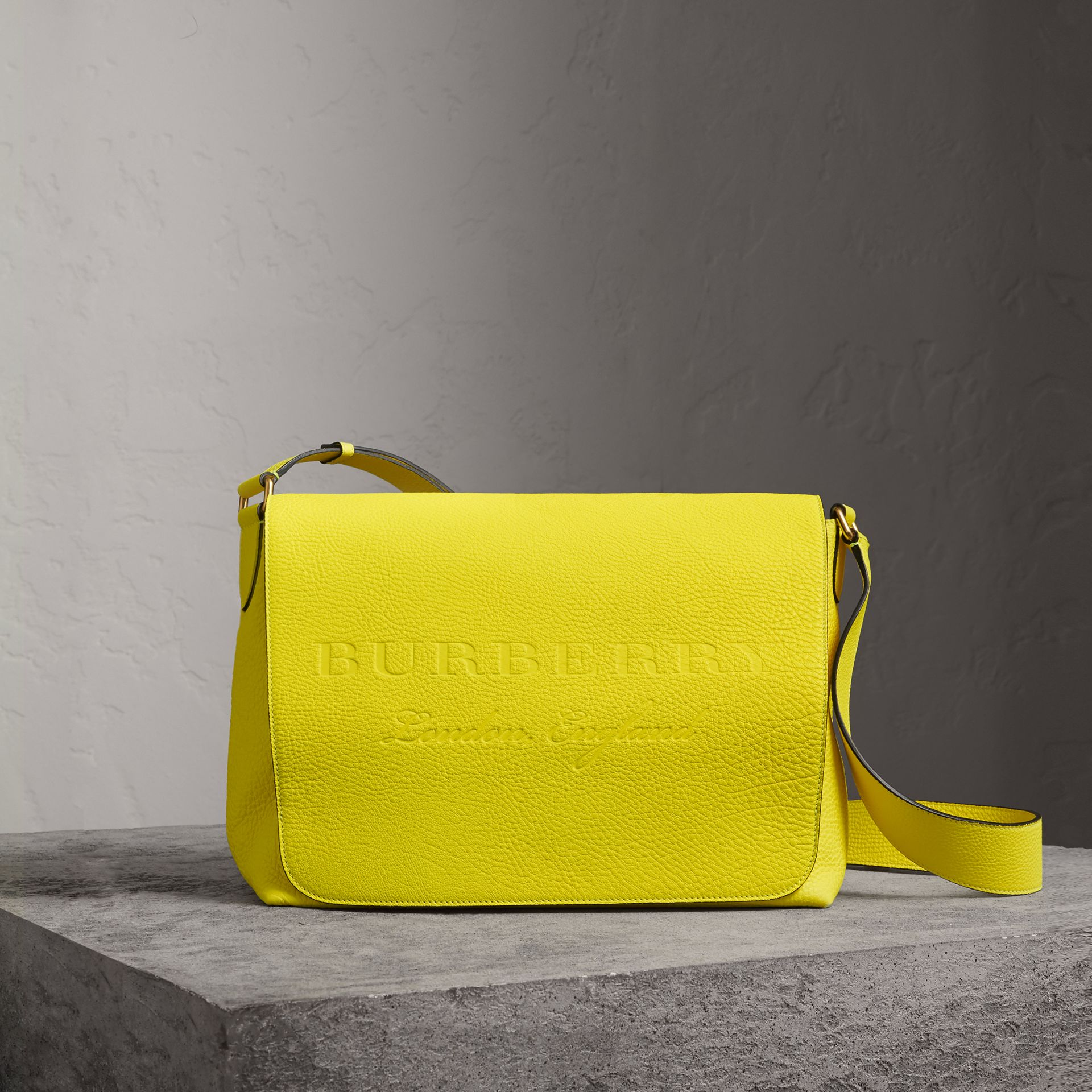 Large Embossed Leather Messenger Bag in Neon Yellow | Burberry Australia - gallery image 0