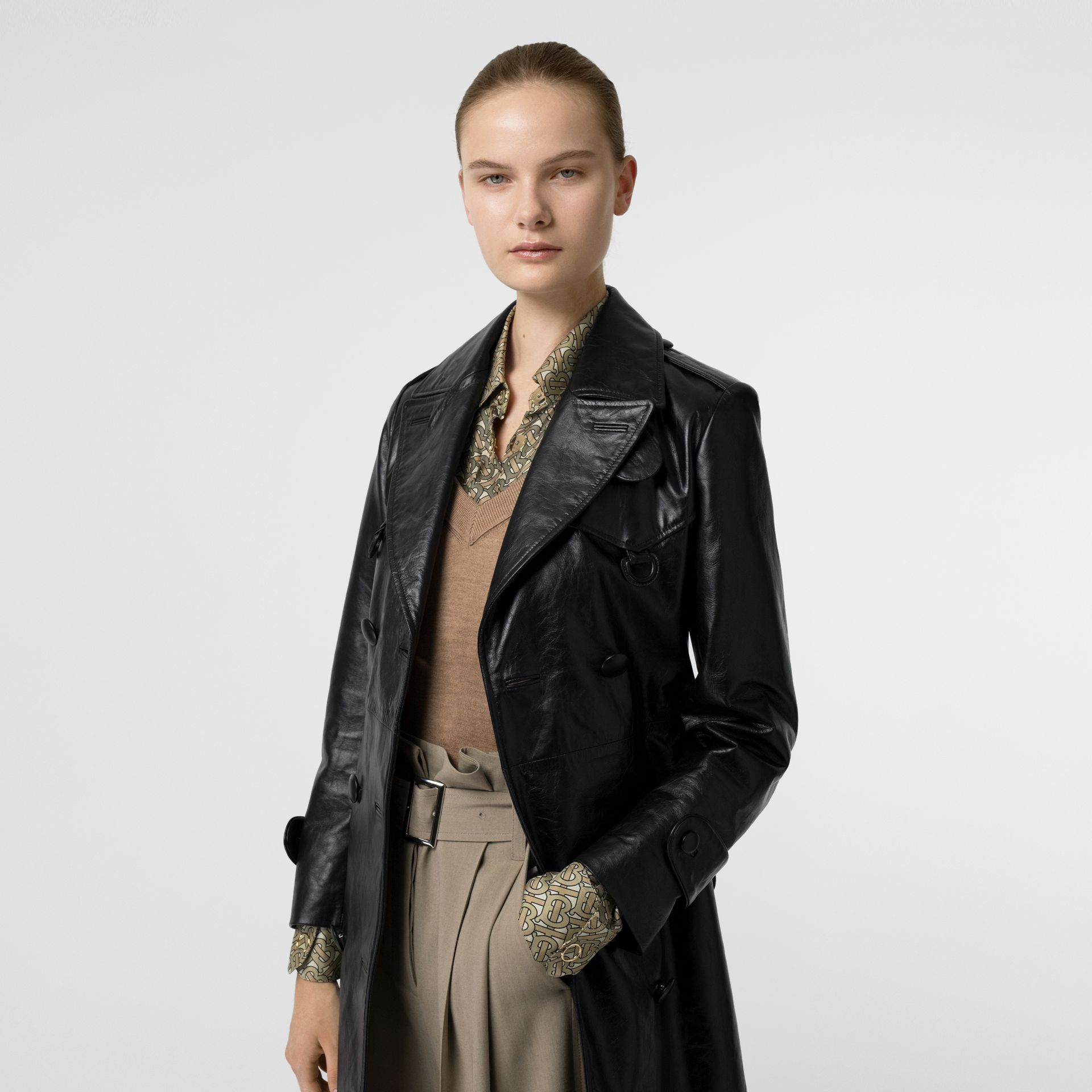 D-ring Detail Crinkled Leather Trench Coat in Black - Women | Burberry - gallery image 5