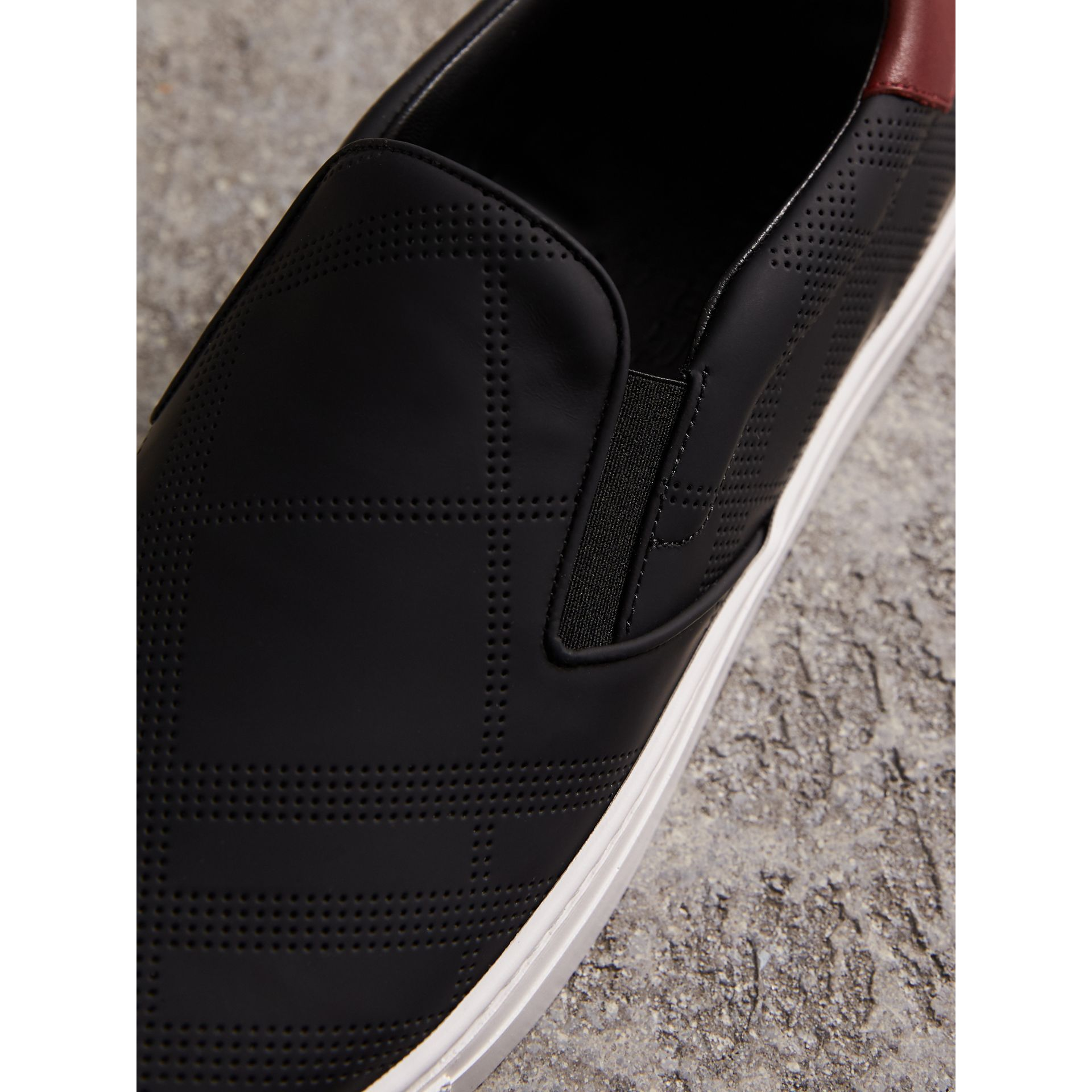 Perforated Check Leather Slip-on Trainers in Black/deep Claret Melange - Men | Burberry - gallery image 2