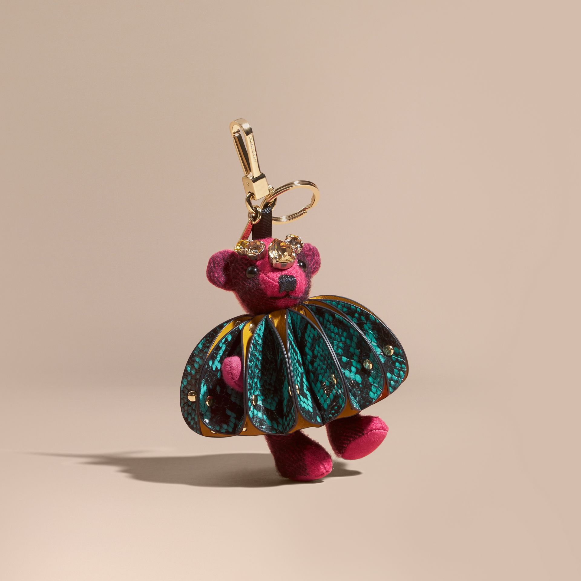 Thomas Bear Charm in Ruffled Leather with Crystals in Fuchsia Pink - Women | Burberry - gallery image 0