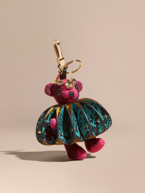 Thomas Bear Charm in Ruffled Leather with Crystals in Fuchsia Pink