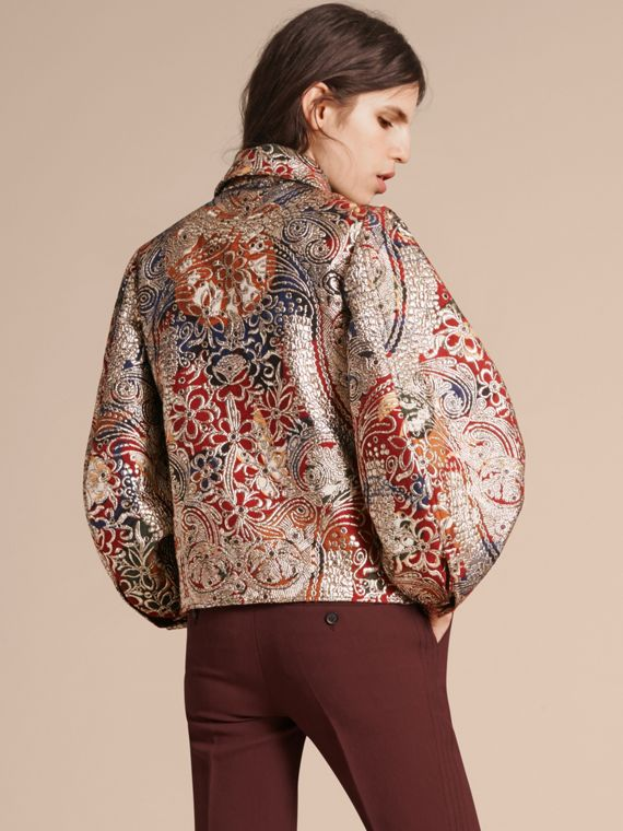 Russet brown Metallic Floral Jacquard Sculptured Sleeve Shirt - cell image 2