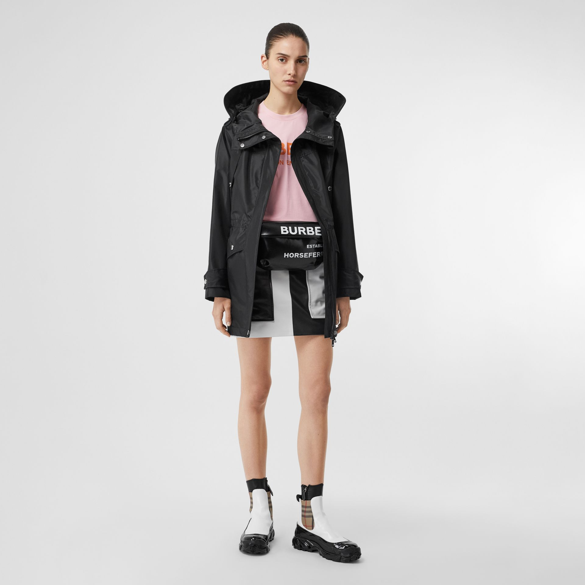Coated Nylon Hooded Parka with Detachable Gilet in Black - Women | Burberry United States - gallery image 0
