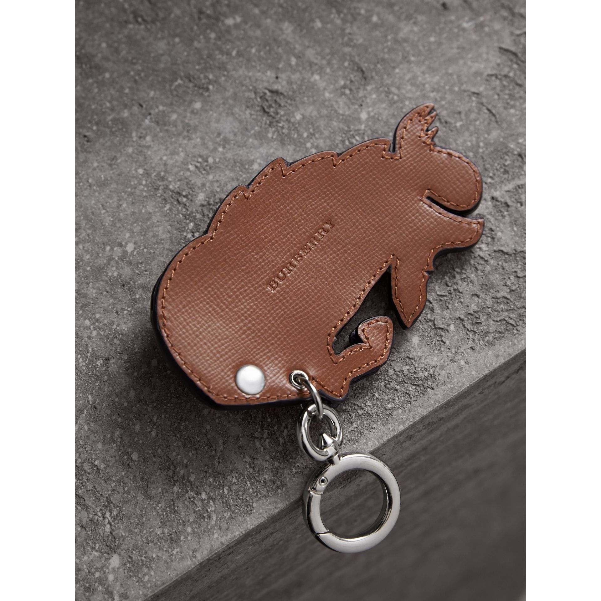 Beasts Riveted Leather Key Ring in Honey - Men | Burberry - gallery image 3