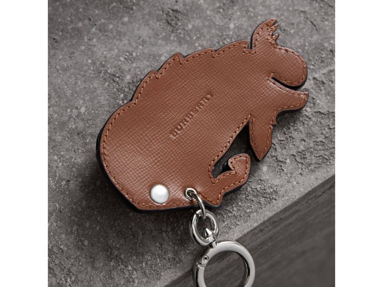 Beasts Riveted Leather Key Ring in Honey - Men | Burberry - cell image 2