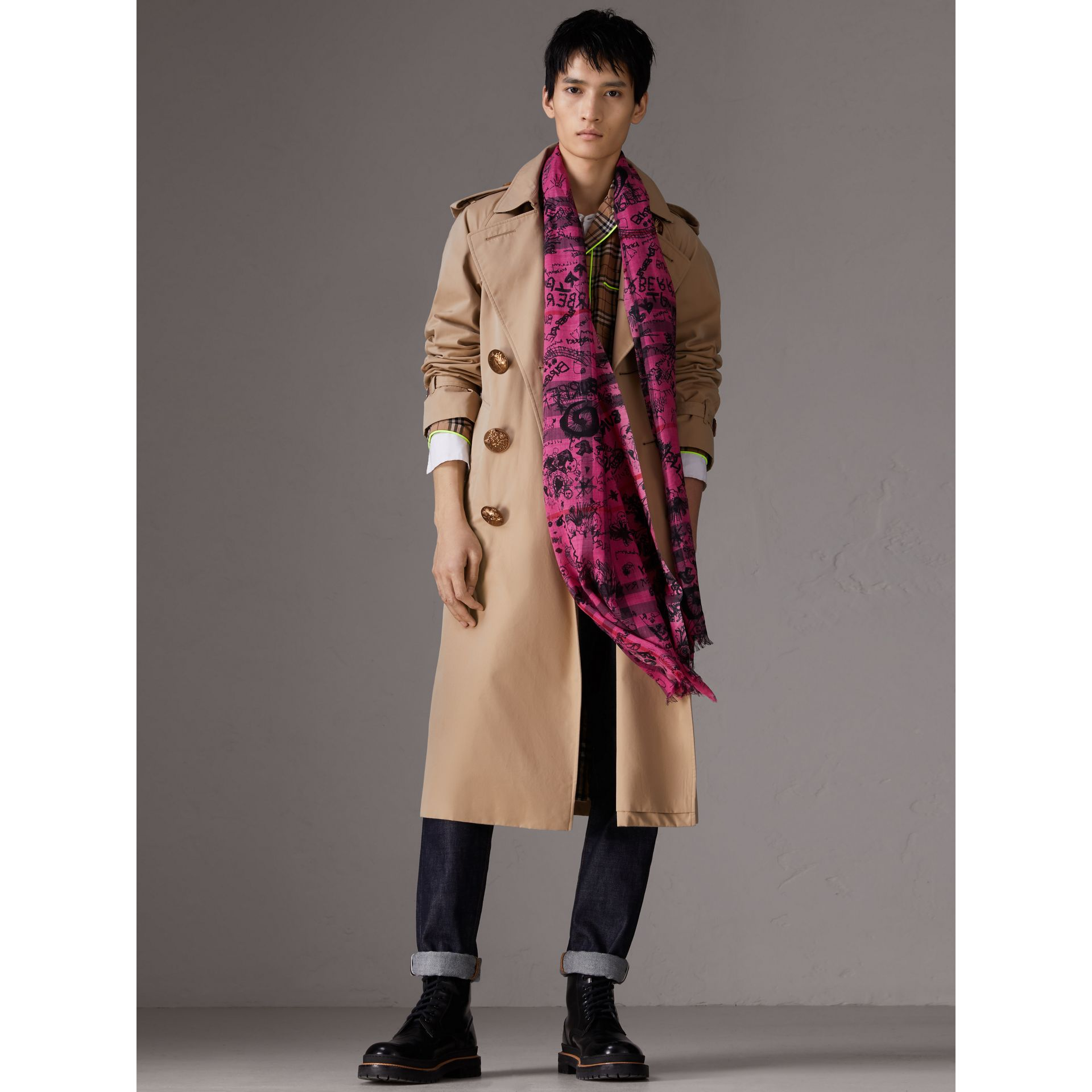 Doodle Print Check Wool Silk Scarf in Neon Pink | Burberry - gallery image 3