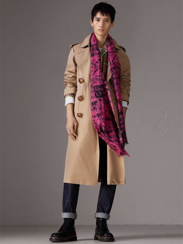 Doodle Print Check Wool Silk Scarf in Neon Pink | Burberry United Kingdom - cell image 3