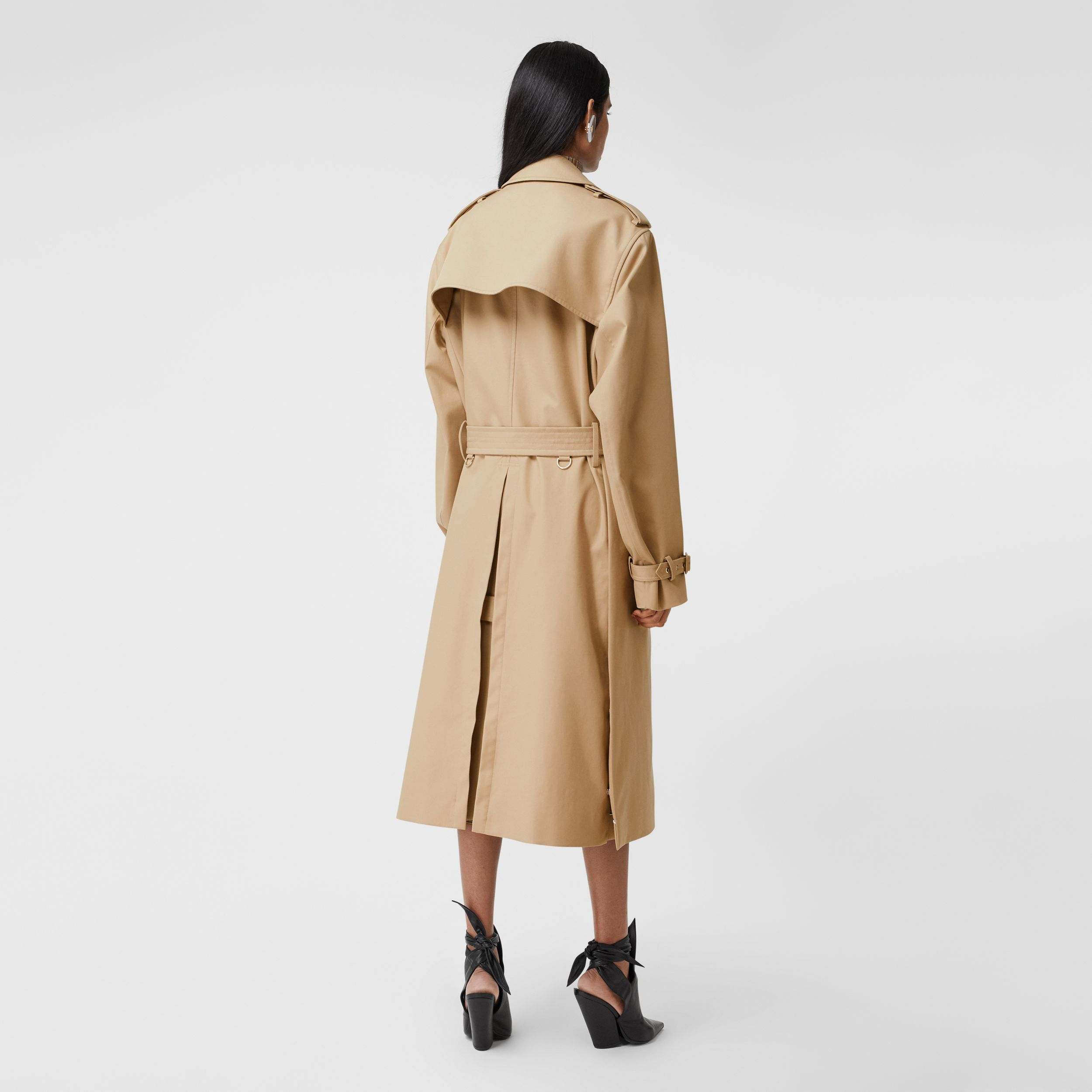 Check Panel Gabardine Loop-back Trench Coat in Dusty Sand - Women | Burberry - 3