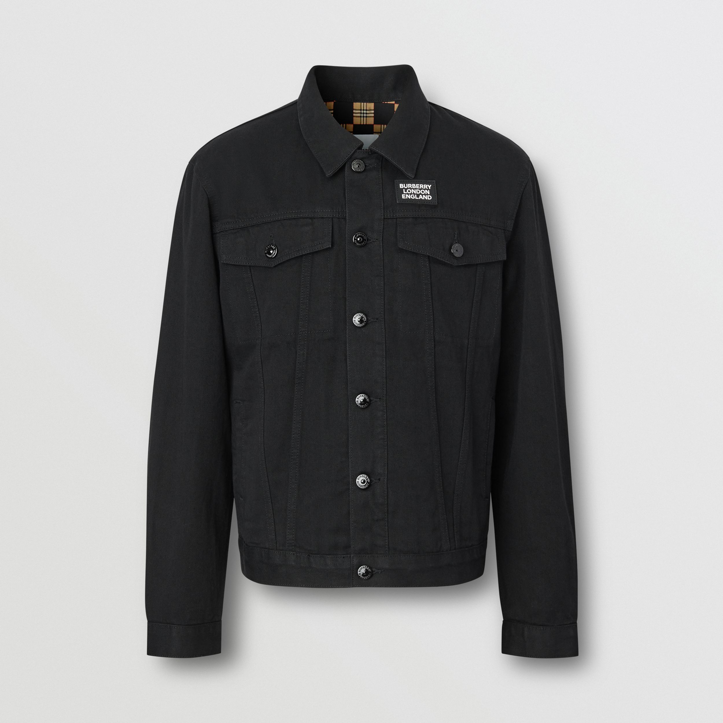 Logo Appliqué Japanese Denim Jacket in Black - Men | Burberry - 4