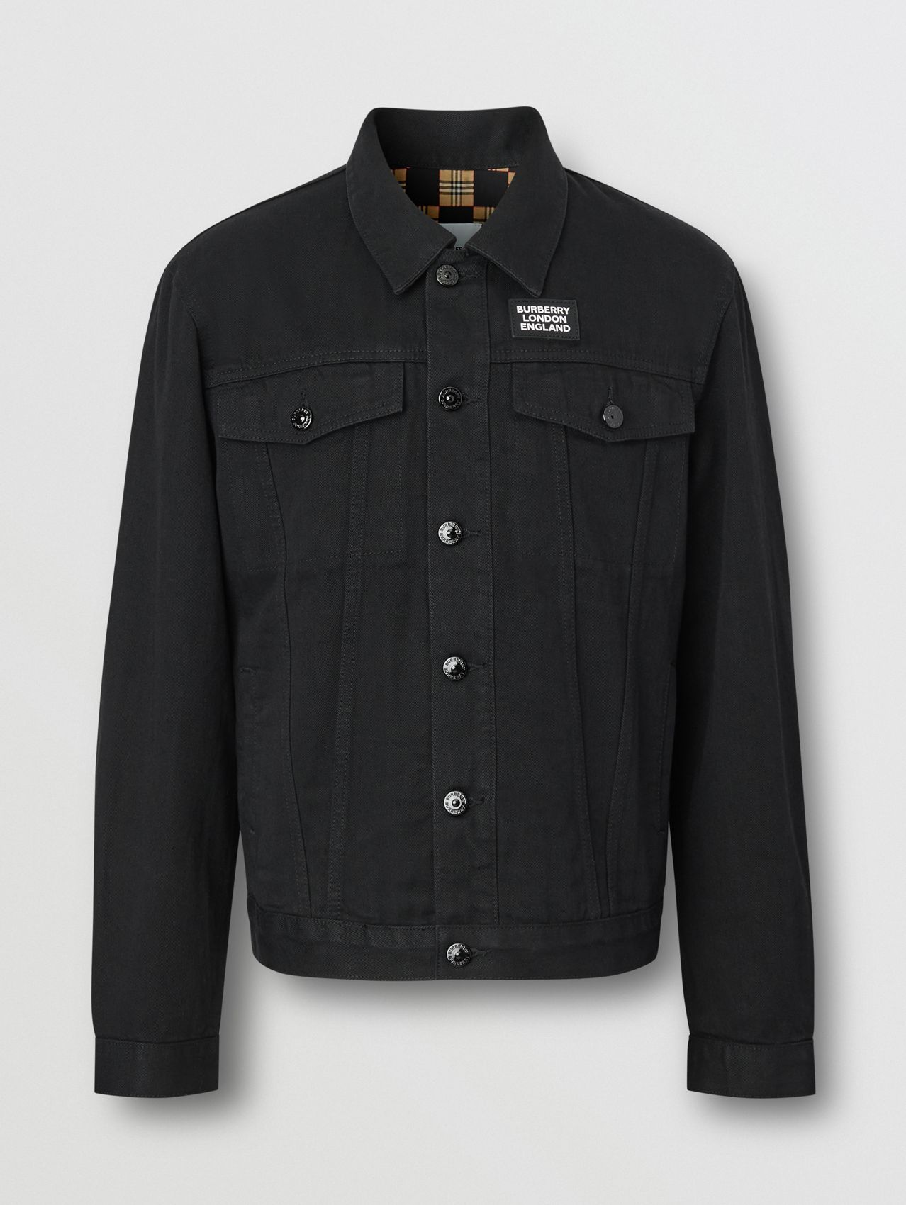 Logo Appliqué Japanese Denim Jacket (Black)