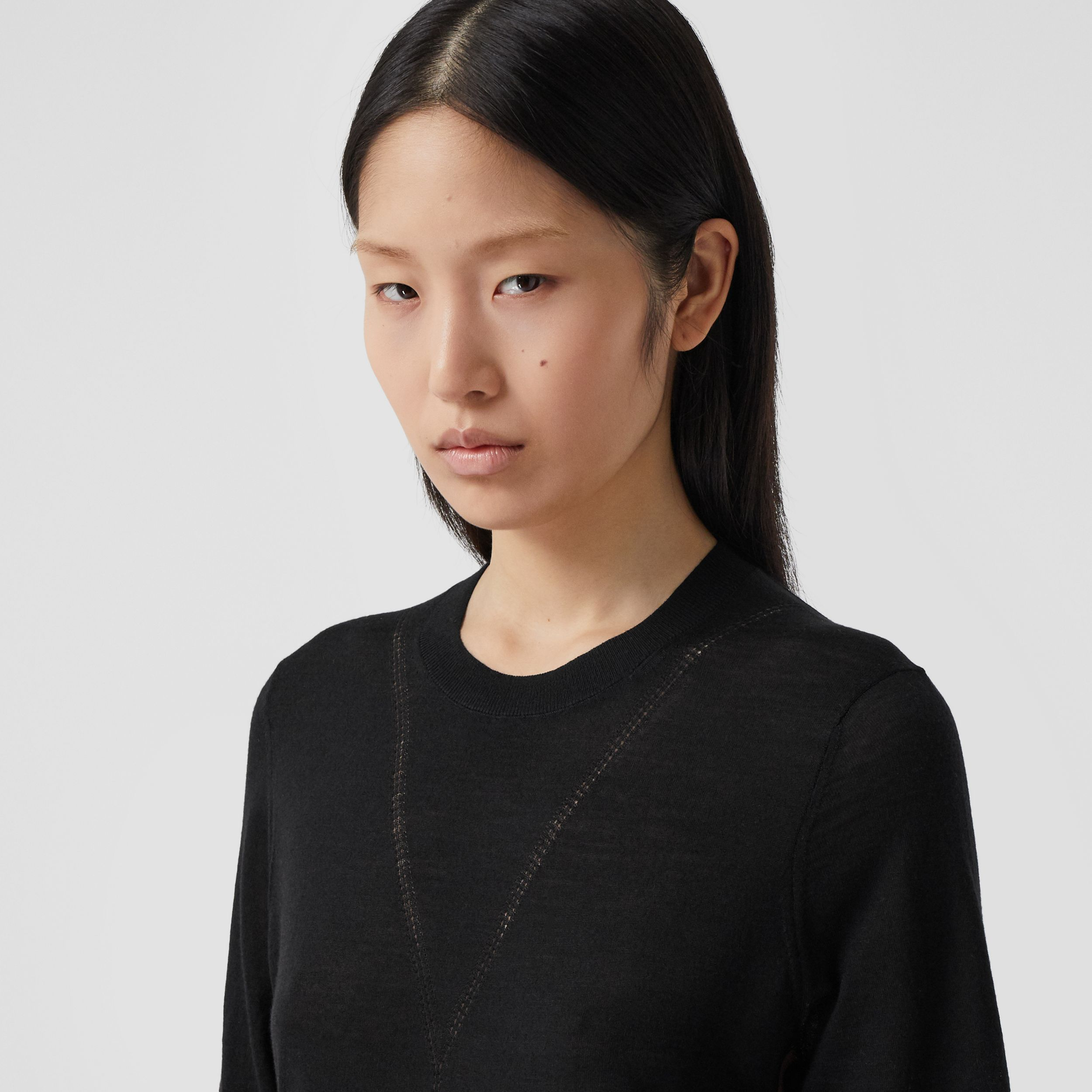Short-sleeve Logo Intarsia Wool Silk Cashmere Top in Black - Women | Burberry - 2