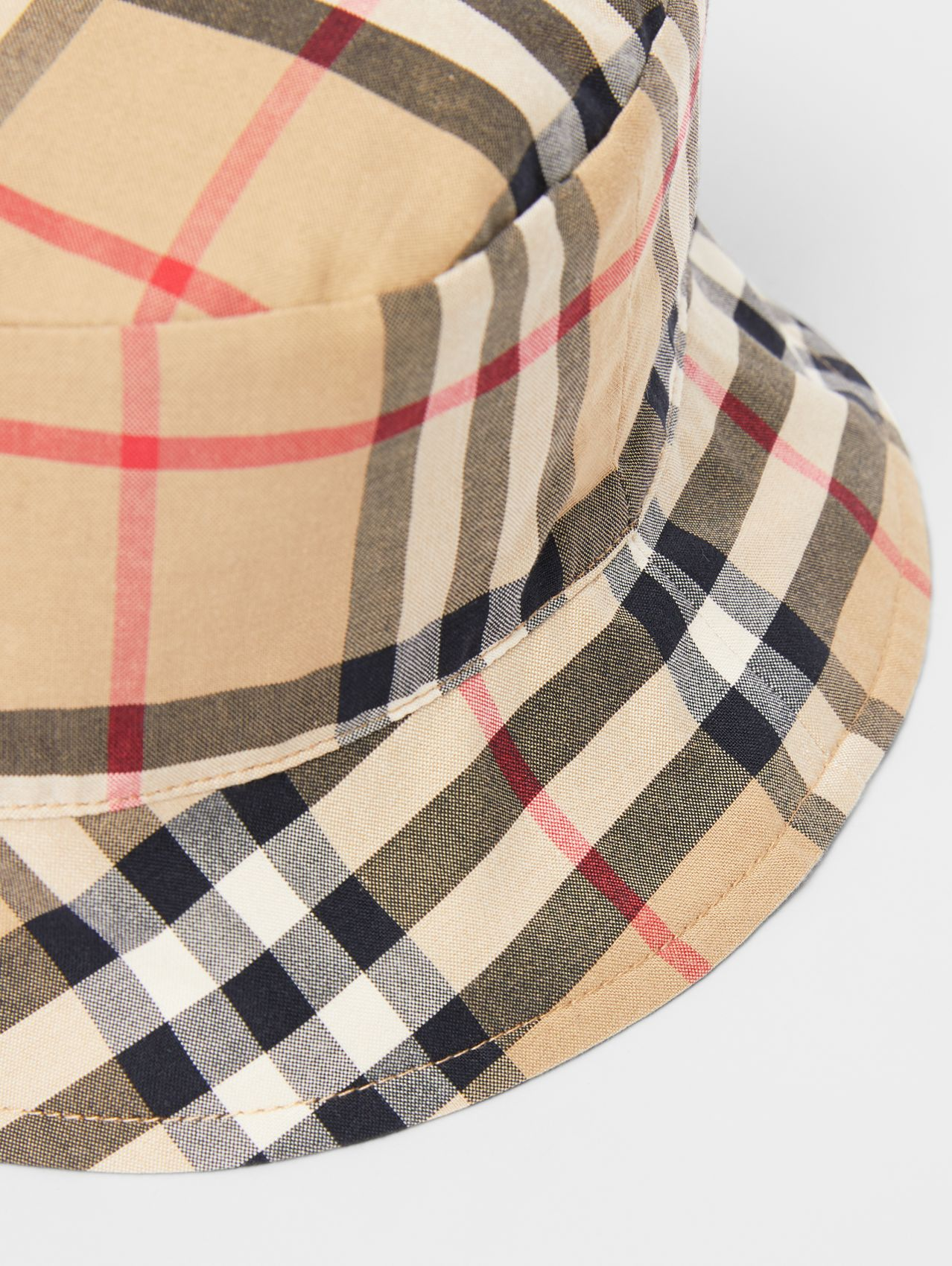 Reversible Vintage Check and Icon Stripe Bucket Hat in Archive Beige