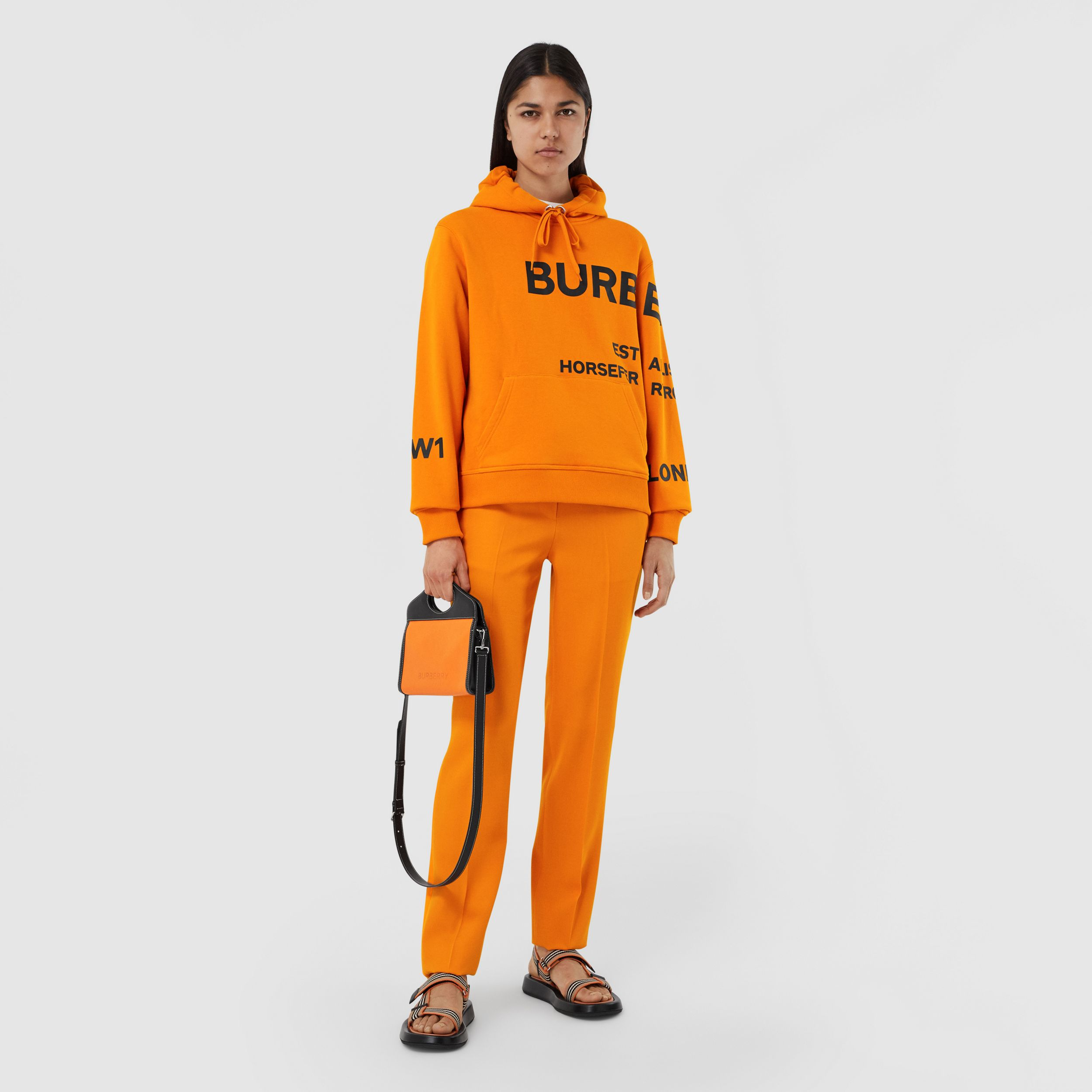 Horseferry Print Cotton Oversized Hoodie in Deep Orange - Women | Burberry - 1