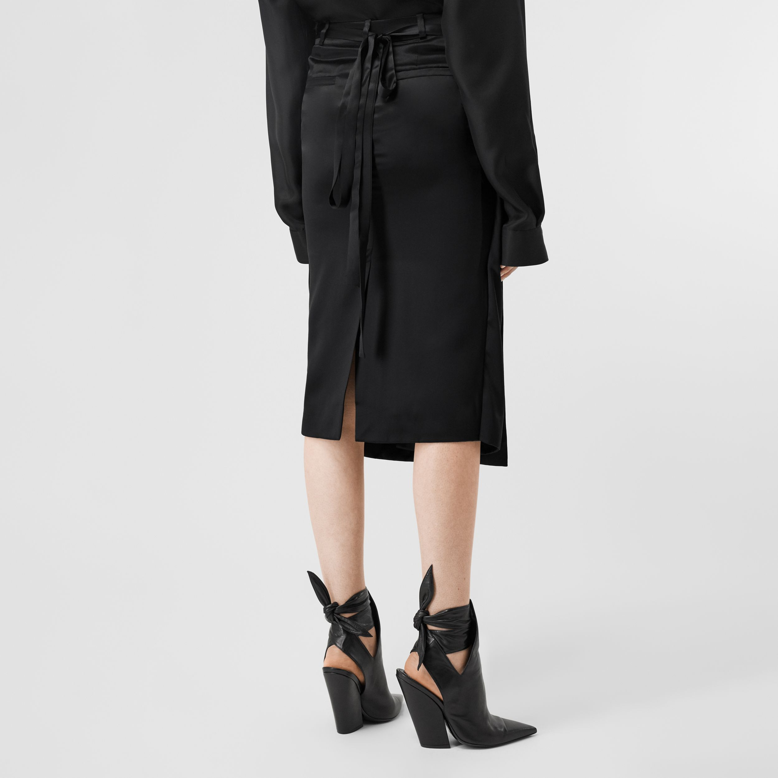 Silk Satin Foldover Skirt in Black - Women | Burberry - 2