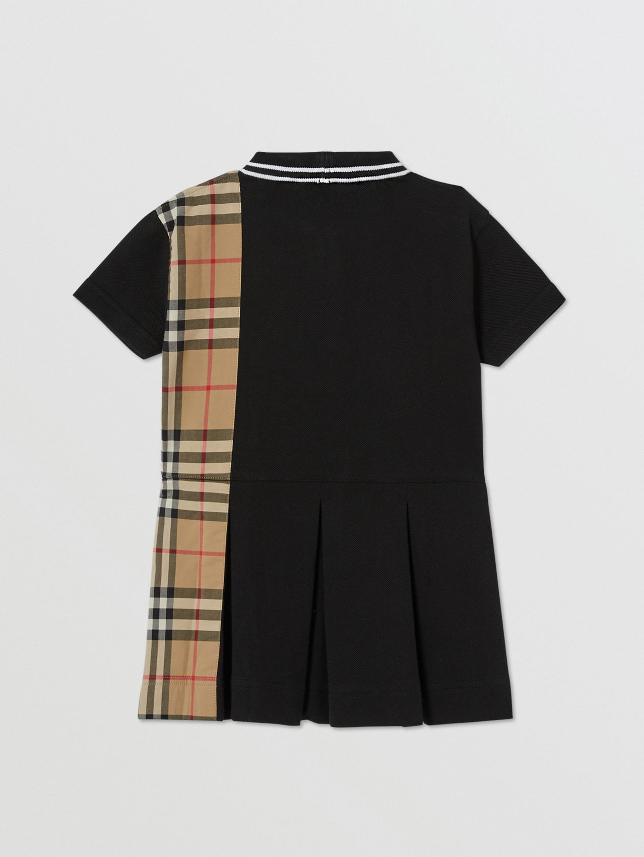 Vintage Check Panel Cotton Piqué Polo Shirt Dress in Black