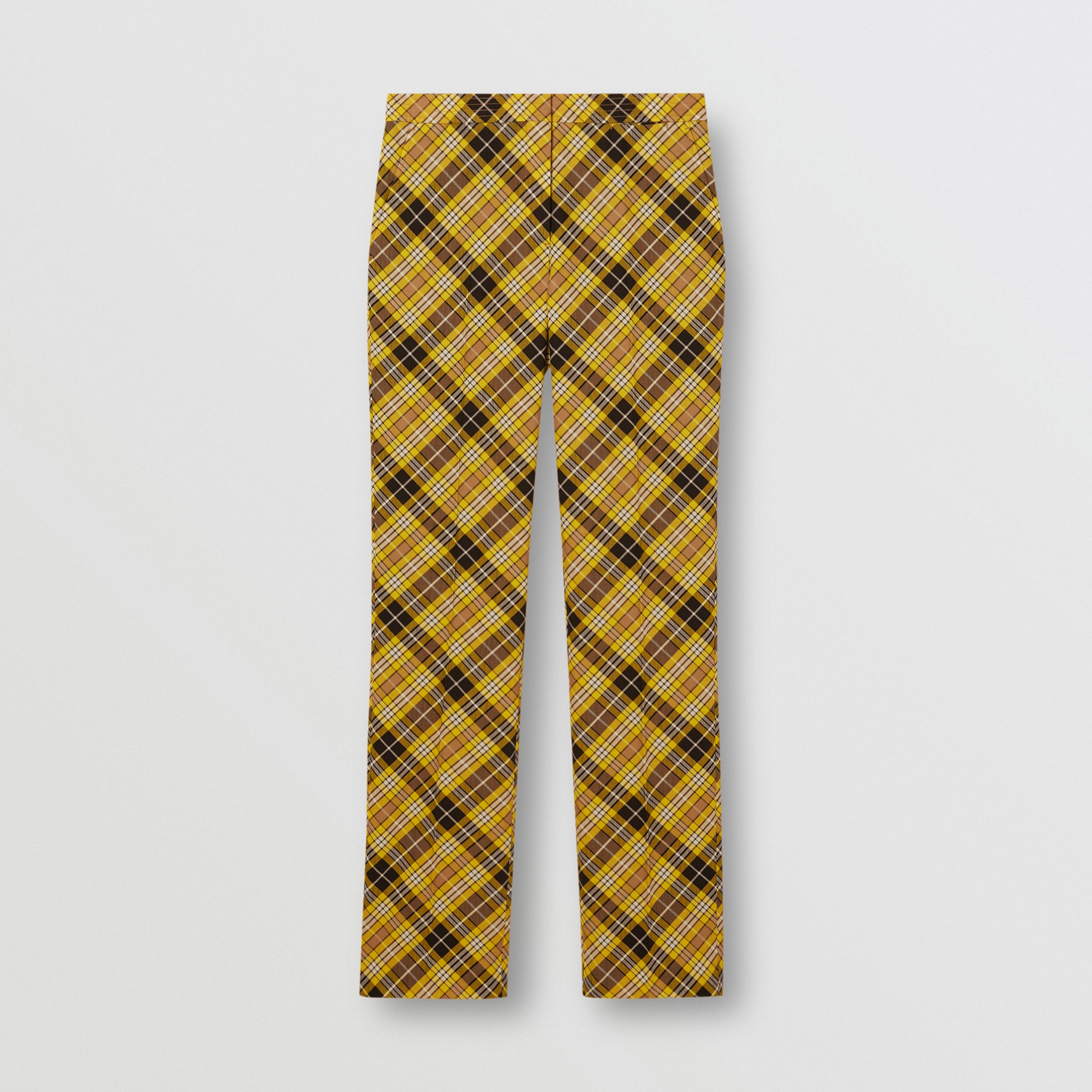 Cropped Check Technical Wool Tailored Trousers in Marigold Yellow - Women | Burberry - 4