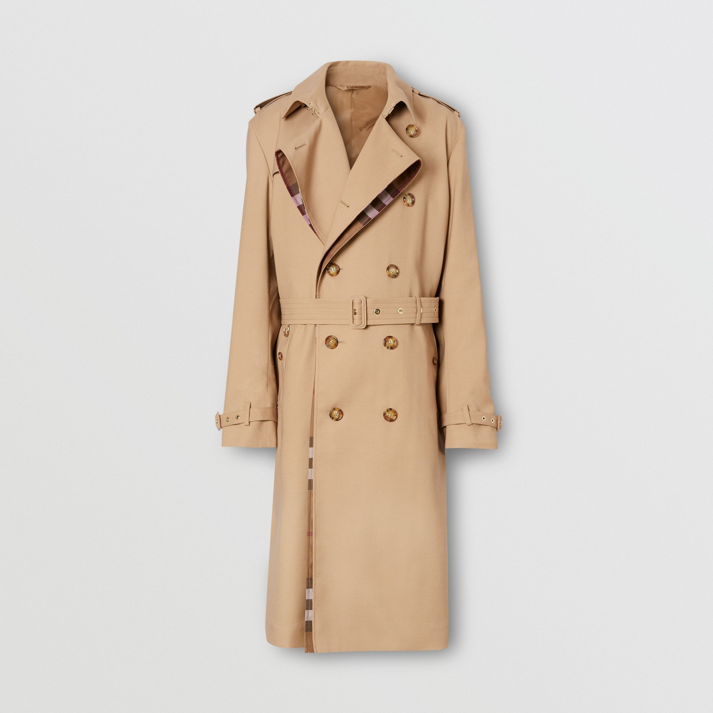 Wool Silk and House Check Loop-back Trench Coat in Biscuit | Burberry Hong Kong S.A.R. - 4