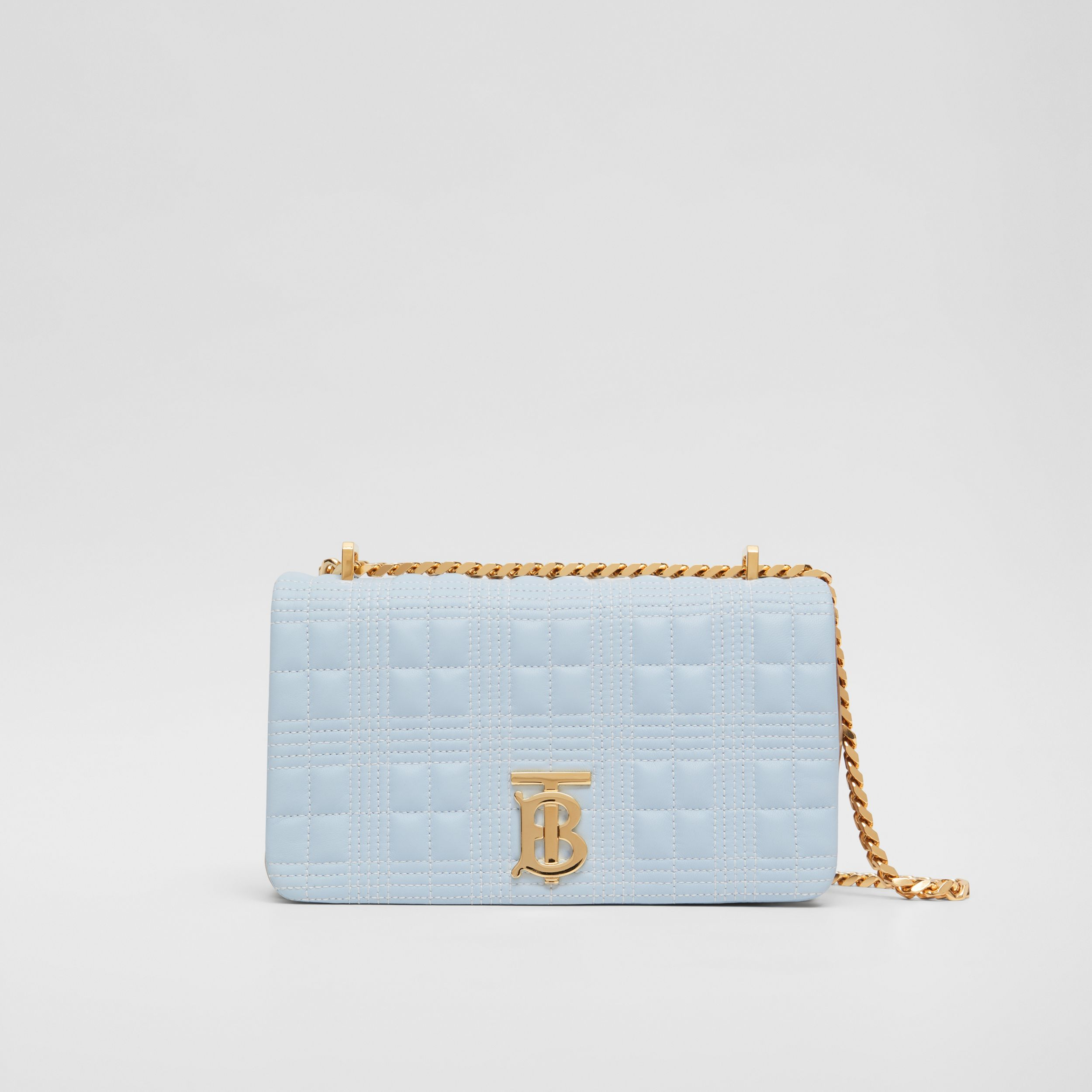Small Quilted Tri-tone Lambskin Lola Bag in Pale Blue/camel/black - Women | Burberry United Kingdom - 1