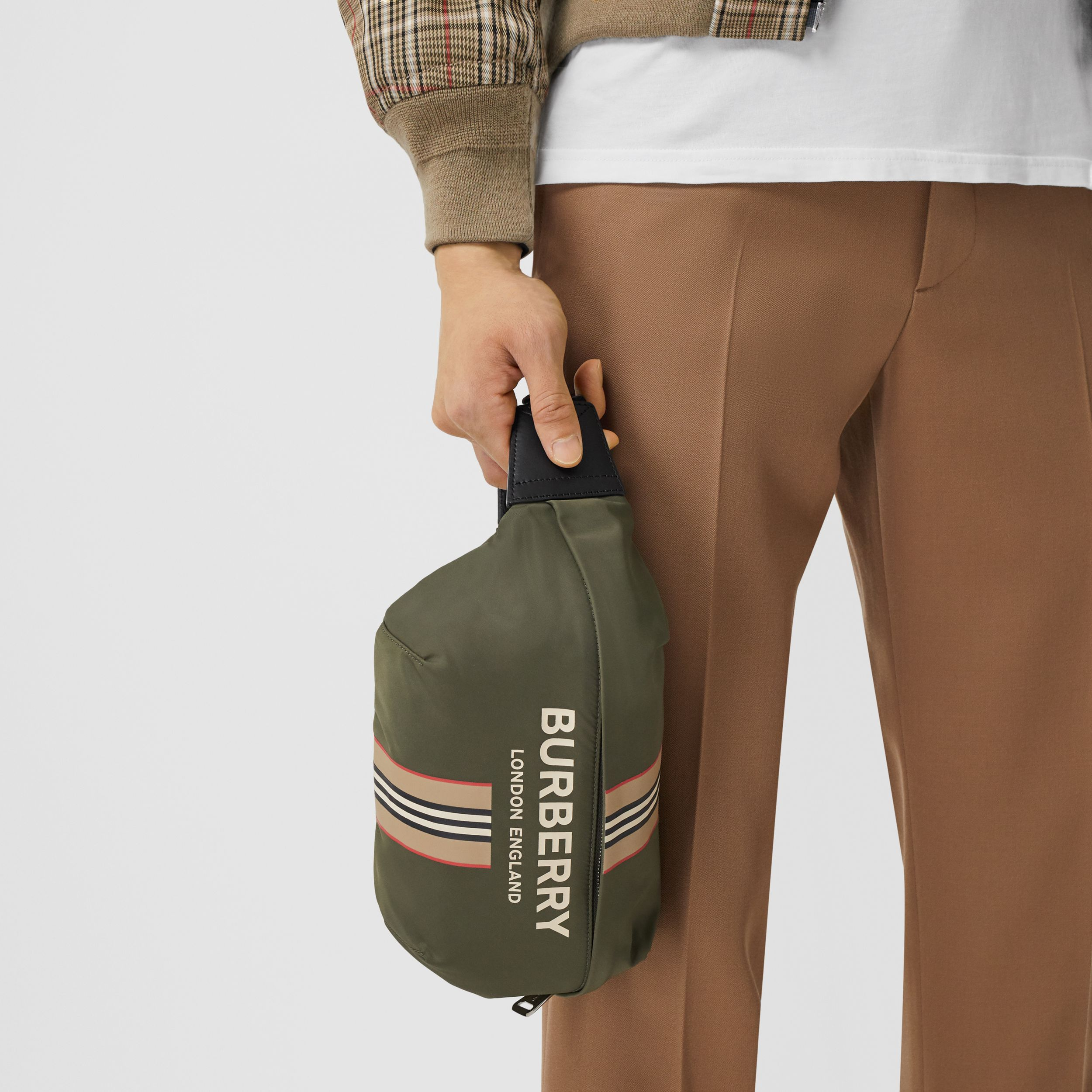 Logo and Icon Stripe Print ECONYL® Sonny Bum Bag in Dark Olive Green | Burberry - 4