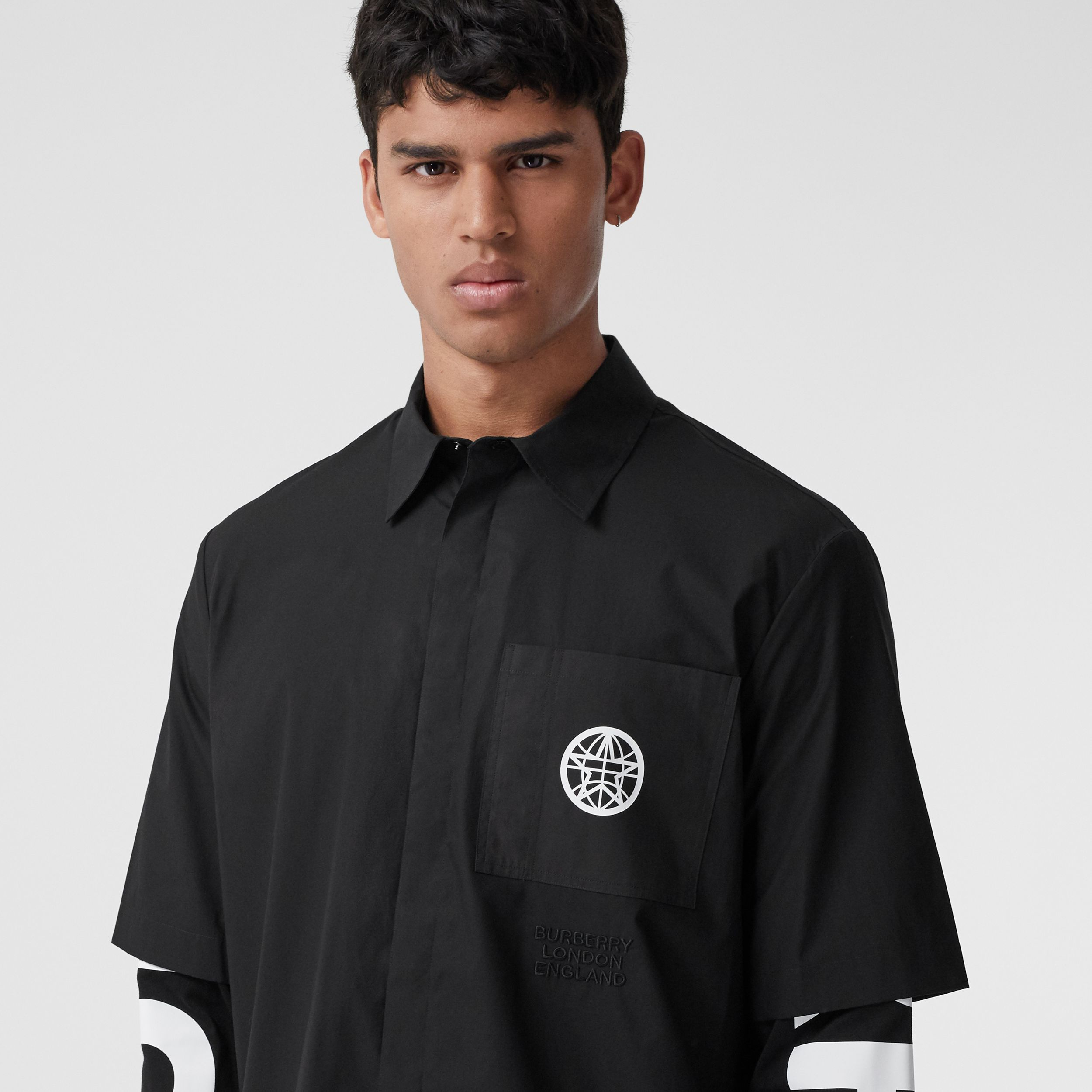 Globe Graphic Cotton Oversized Shirt - Men | Burberry - 2