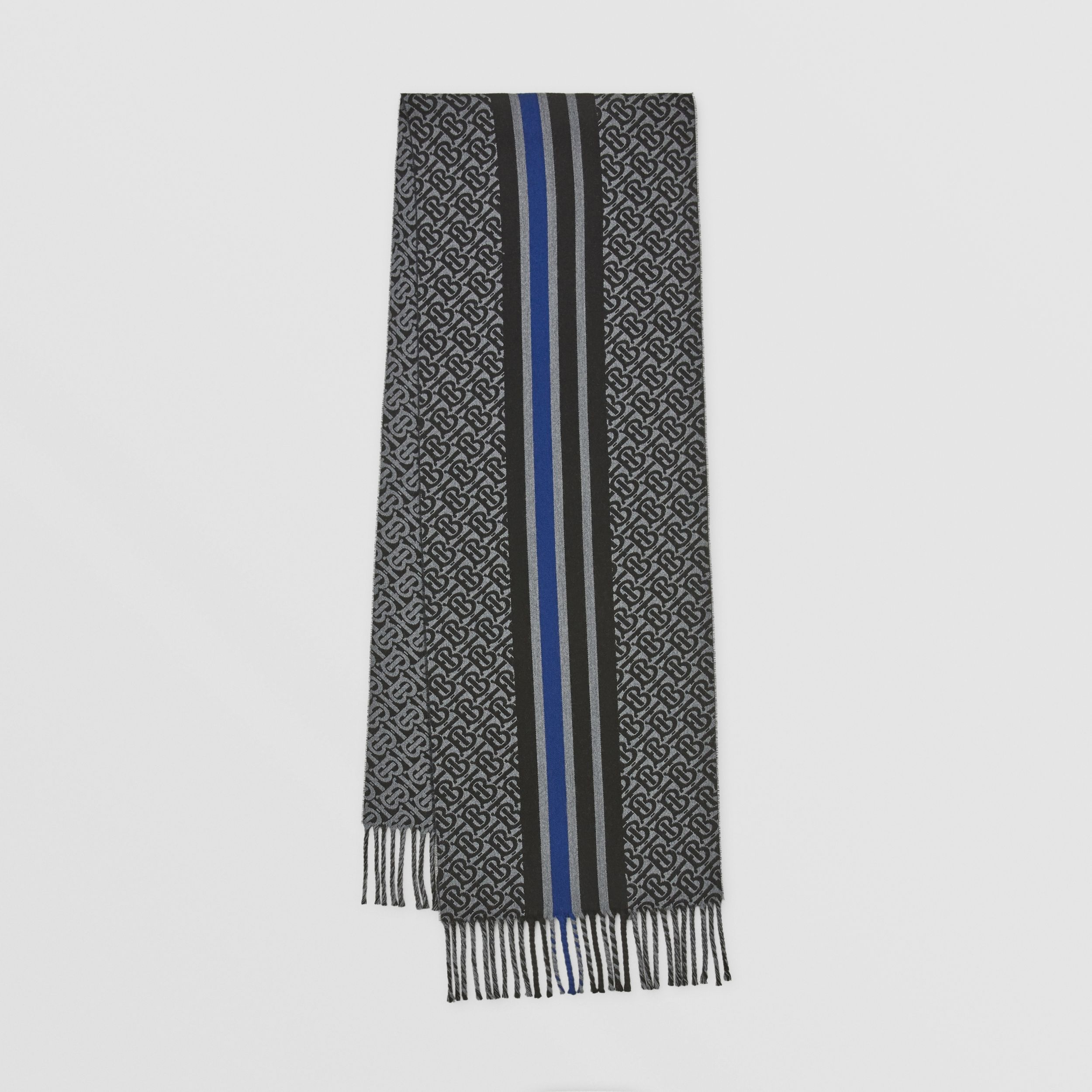 Striped Monogram Wool Cotton Jacquard Scarf in Charcoal | Burberry Australia - 1