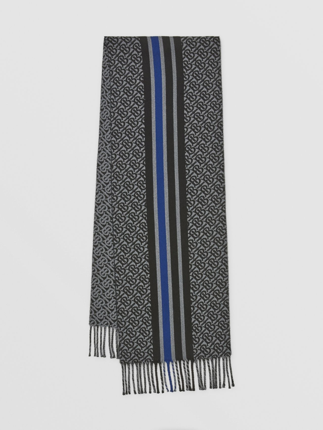 Striped Monogram Wool Cotton Jacquard Scarf in Charcoal