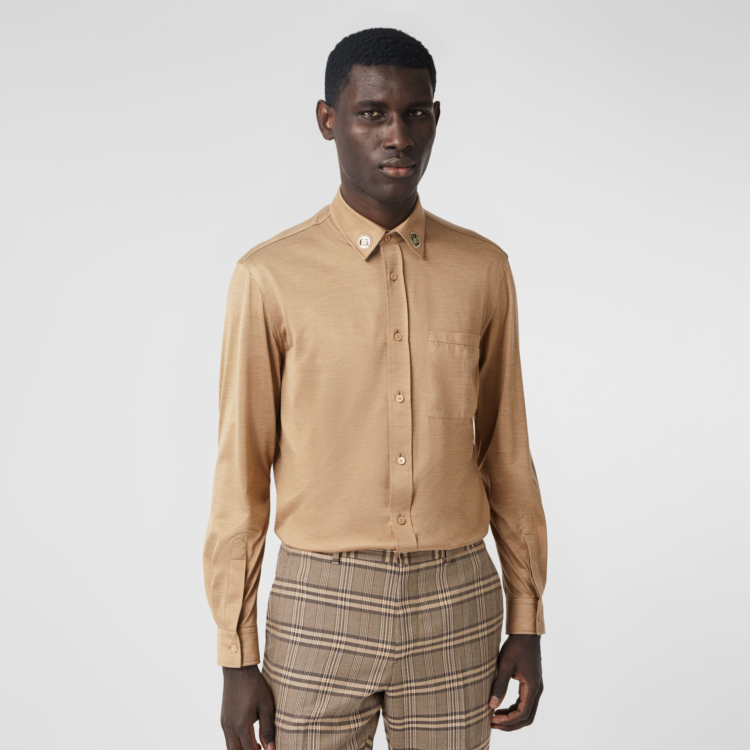 Classic Fit Monogram Motif Silk Jersey Shirt in Soft Fawn - Men | Burberry - 1
