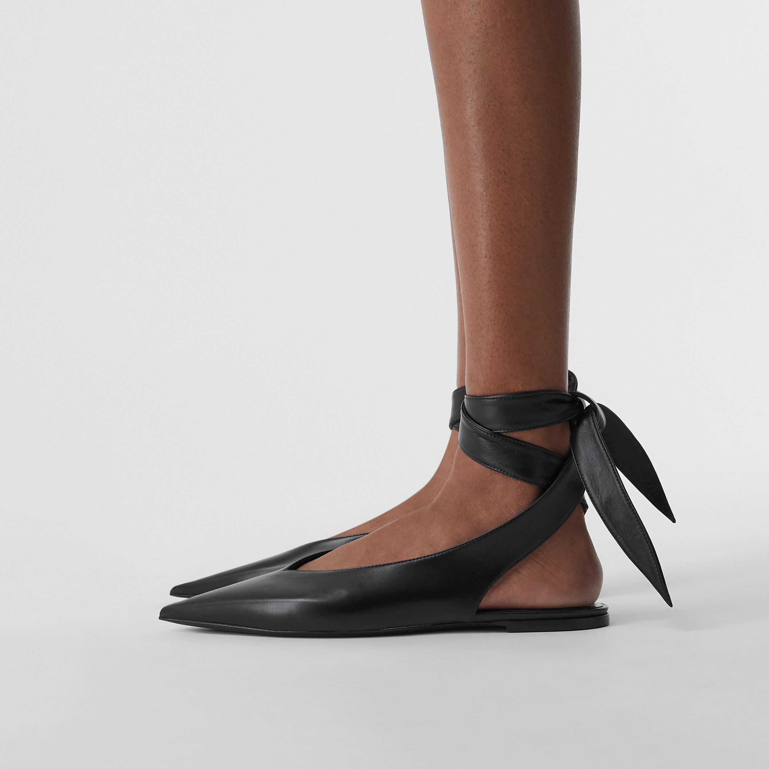 Tie Detail Leather and Lambskin Point-toe Mules in Black - Women | Burberry Australia - 3