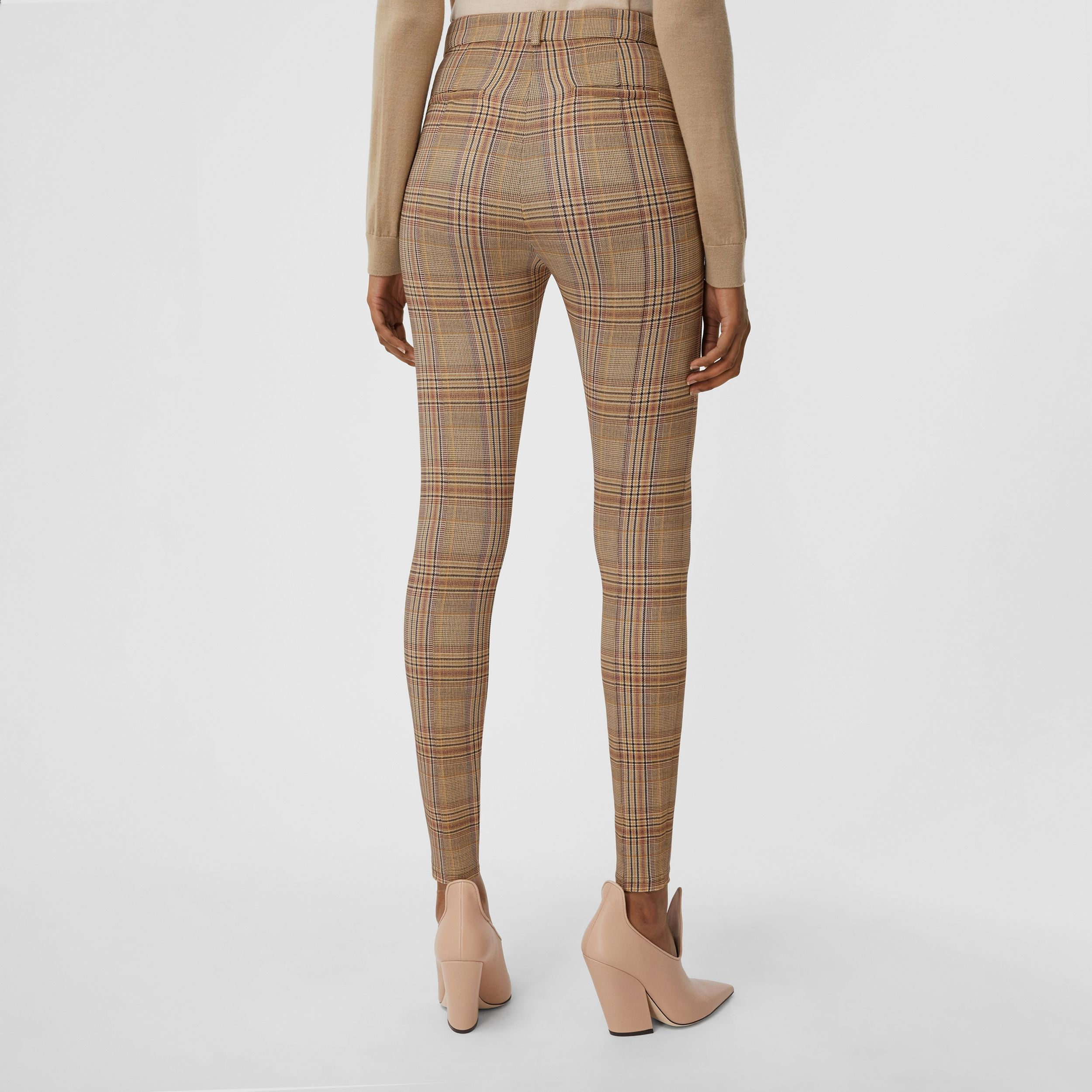 Check Stretch Jersey Jodhpurs in Dark Honey - Women | Burberry - 3